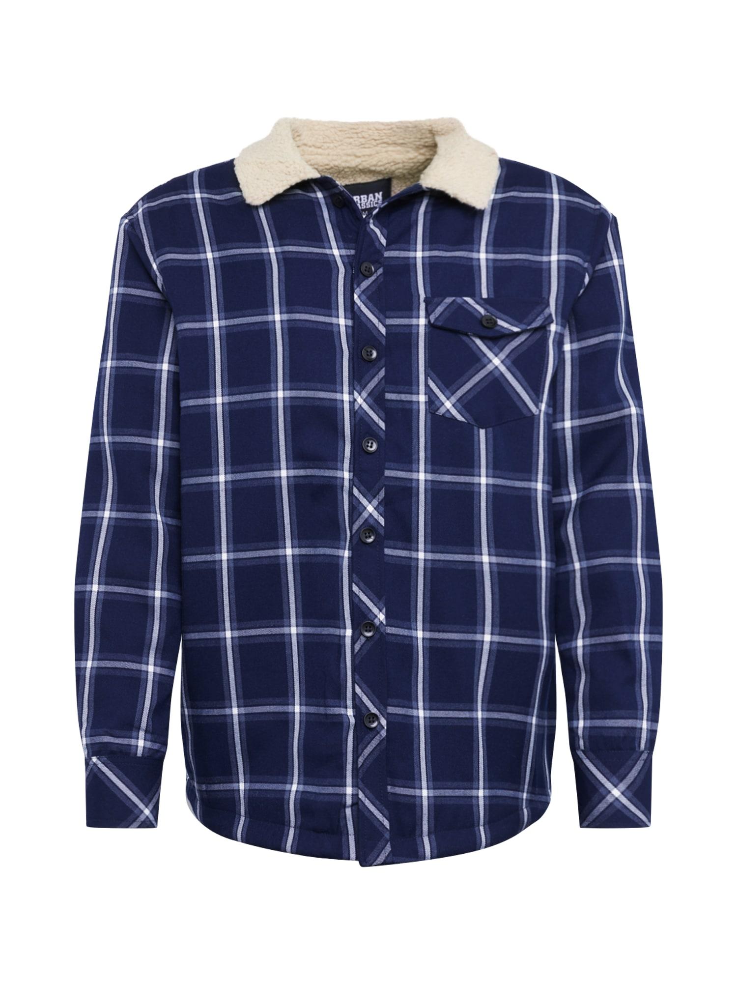 Urban Classics Prechodná bunda 'Sherpa Lined Shirt Jacket'  námornícka modrá / biela