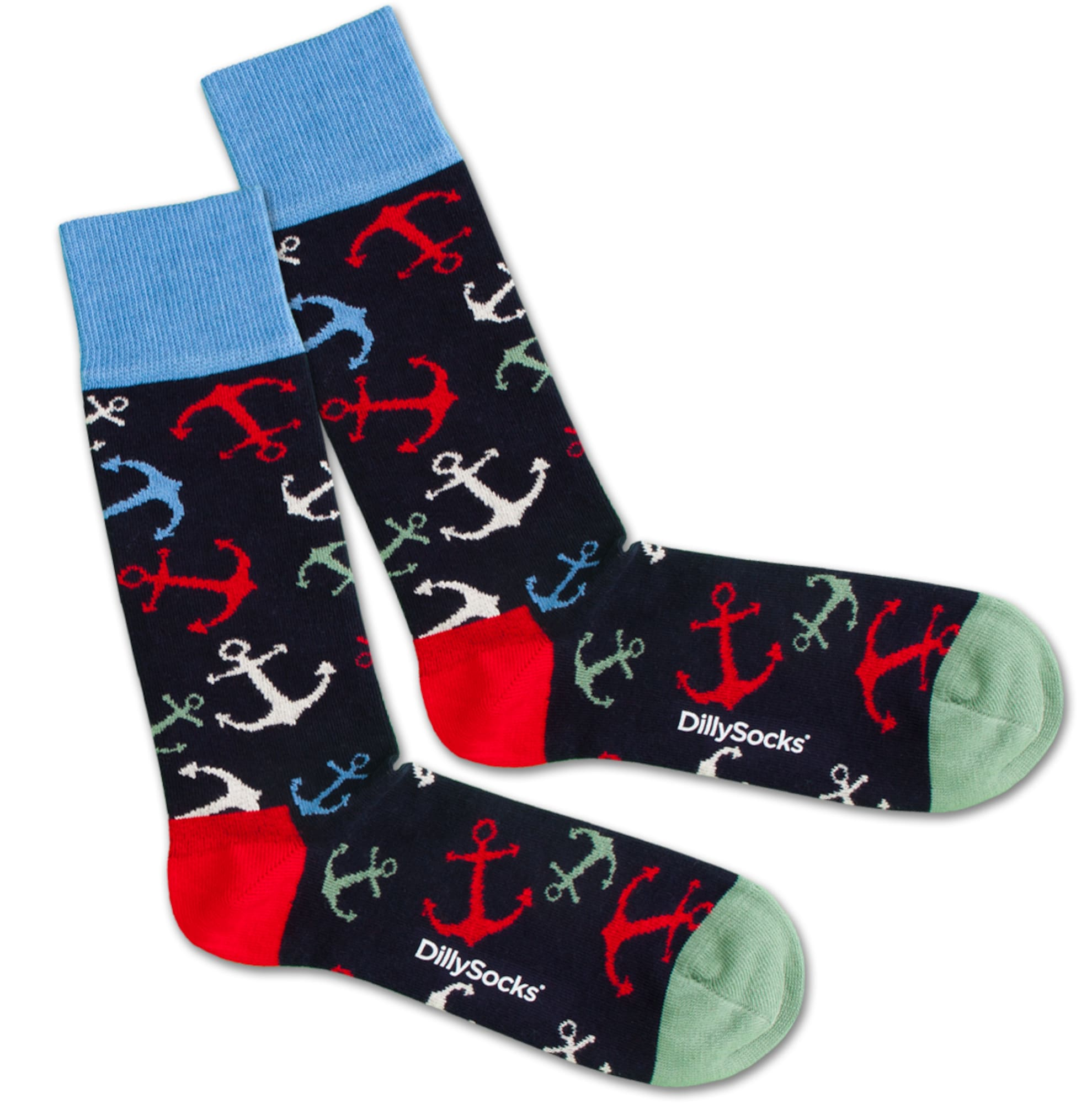 Ponožky Sea Anchor modrá červená černá DillySocks