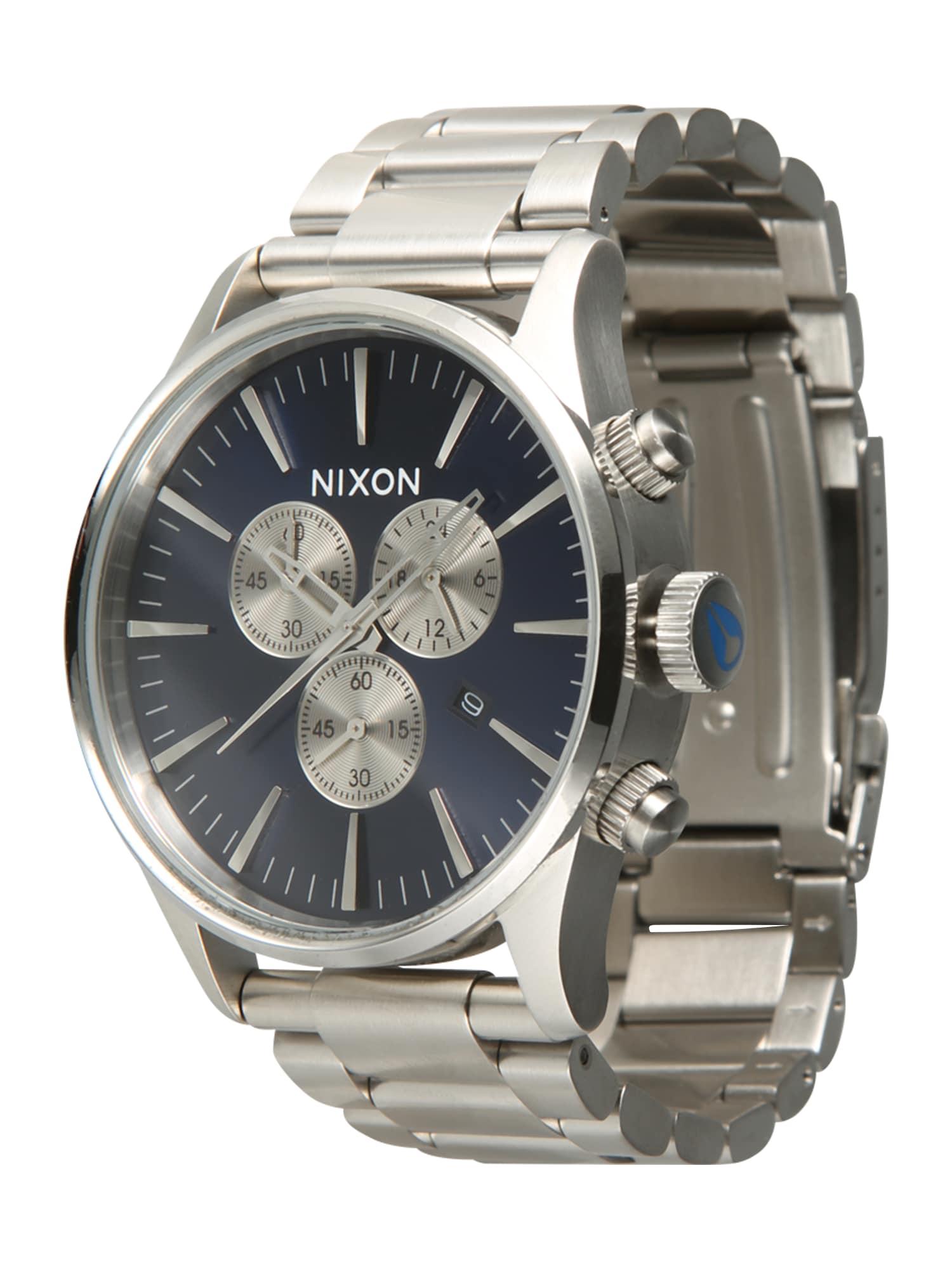 Analogové hodinky Sentry Chrono modrá stříbrná Nixon