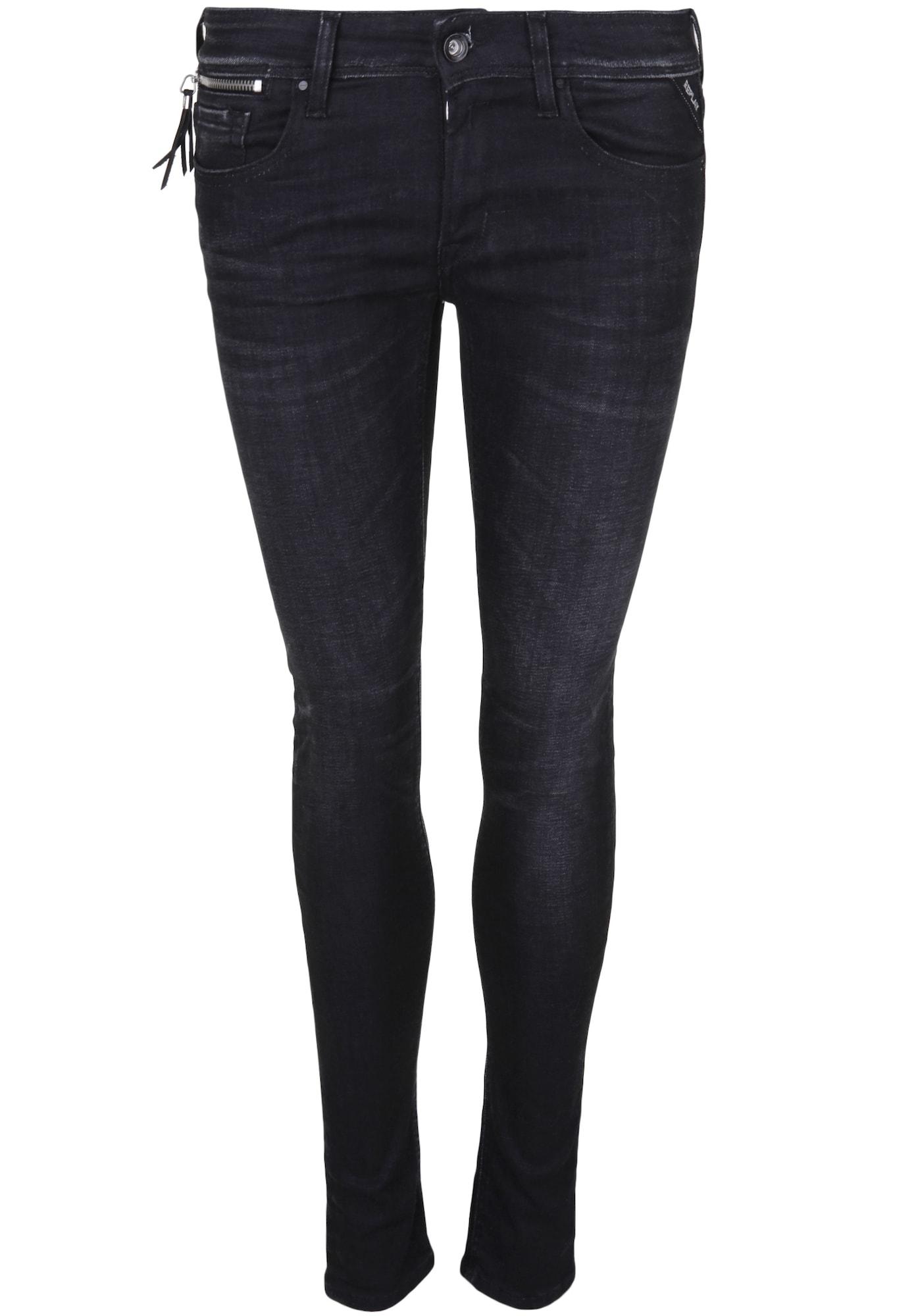 REPLAY Dames Jeans LUZ COIN ZIP black denim