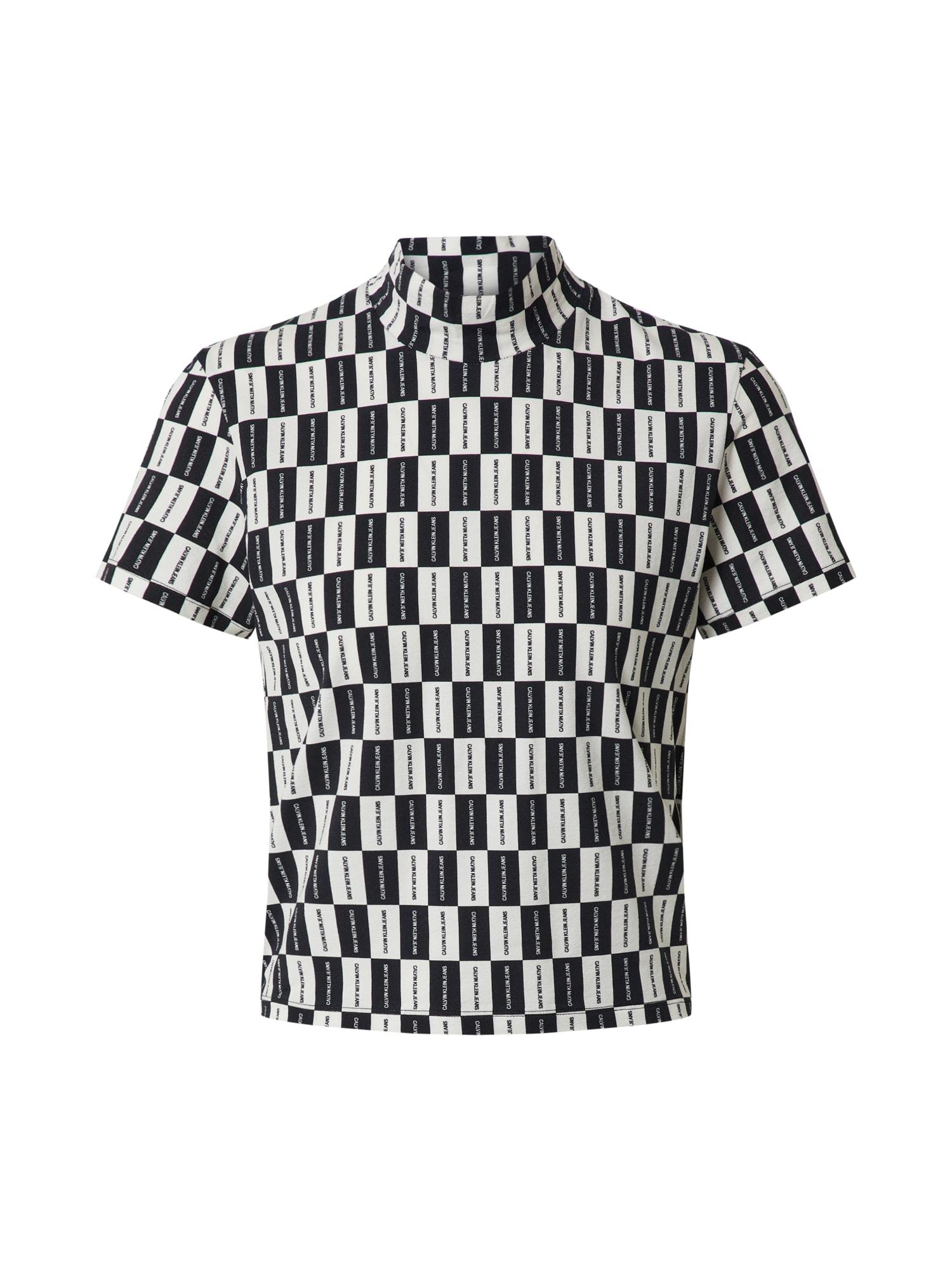 Calvin Klein Jeans Tričko 'CHECKERBOARD MOCK NECK TEE'  bílá / černá