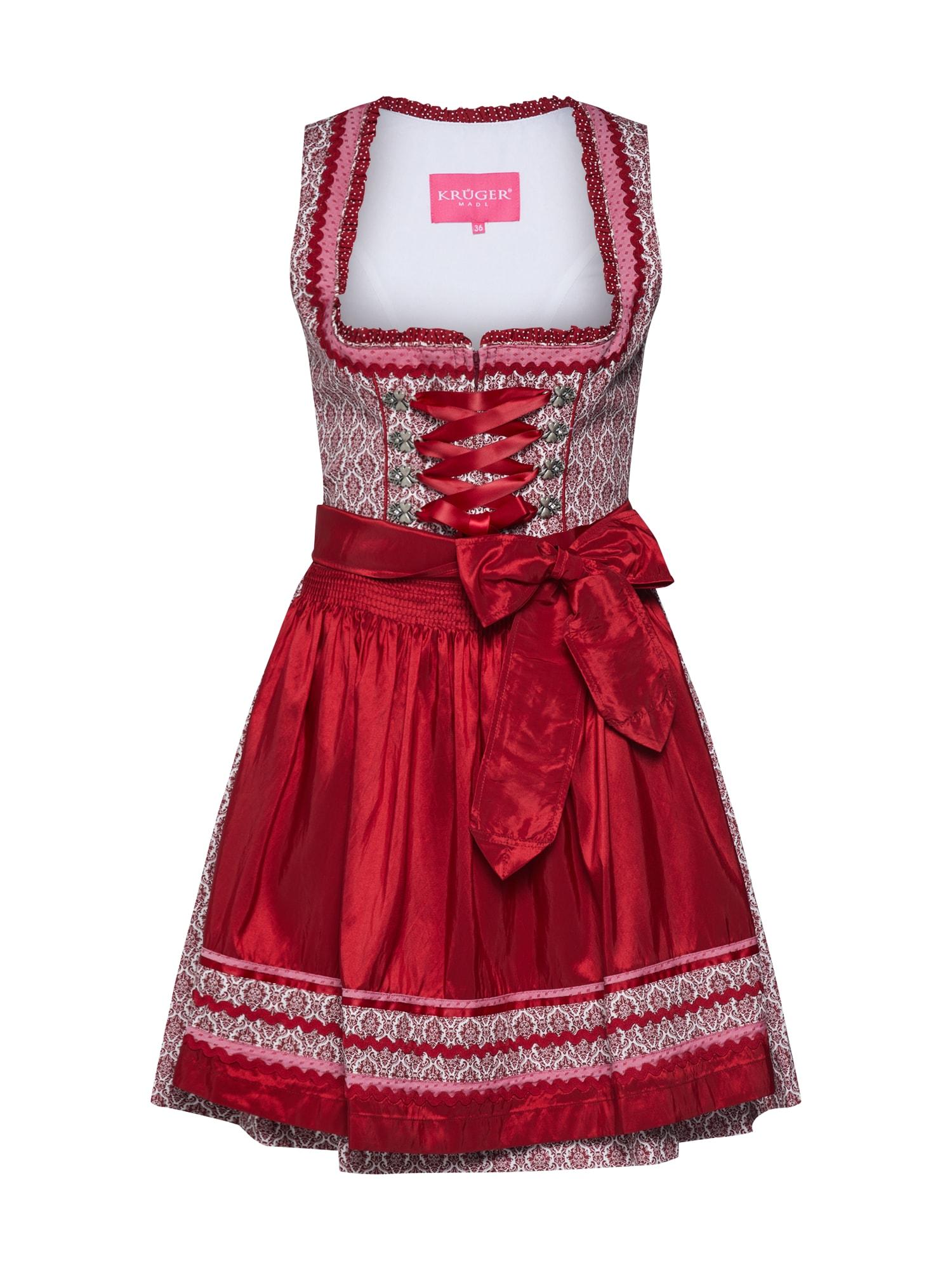 Dirndl světle růžová červená bílá Krüger Madl
