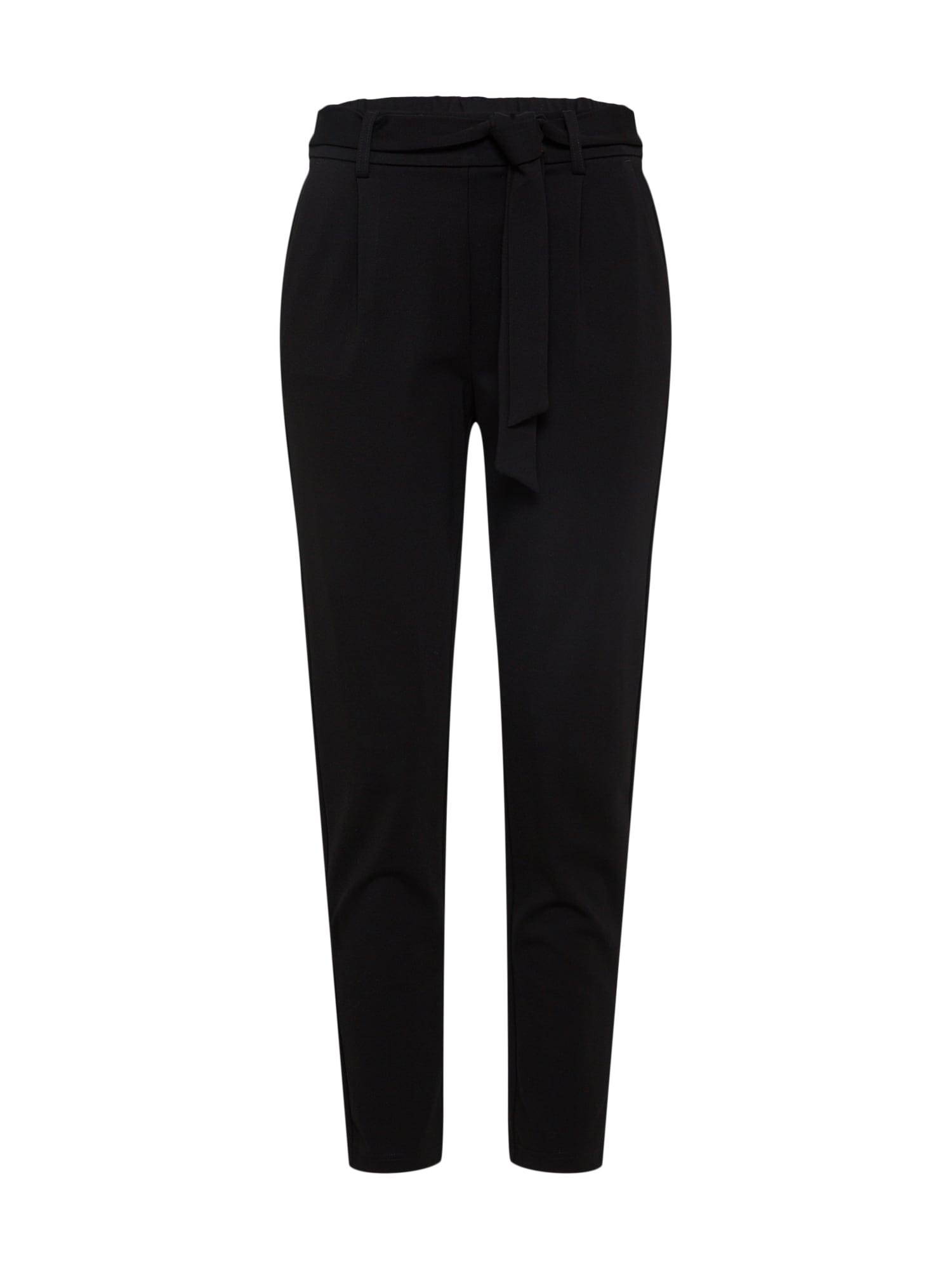 Kalhoty se sklady v pase Popye černá MOSS COPENHAGEN