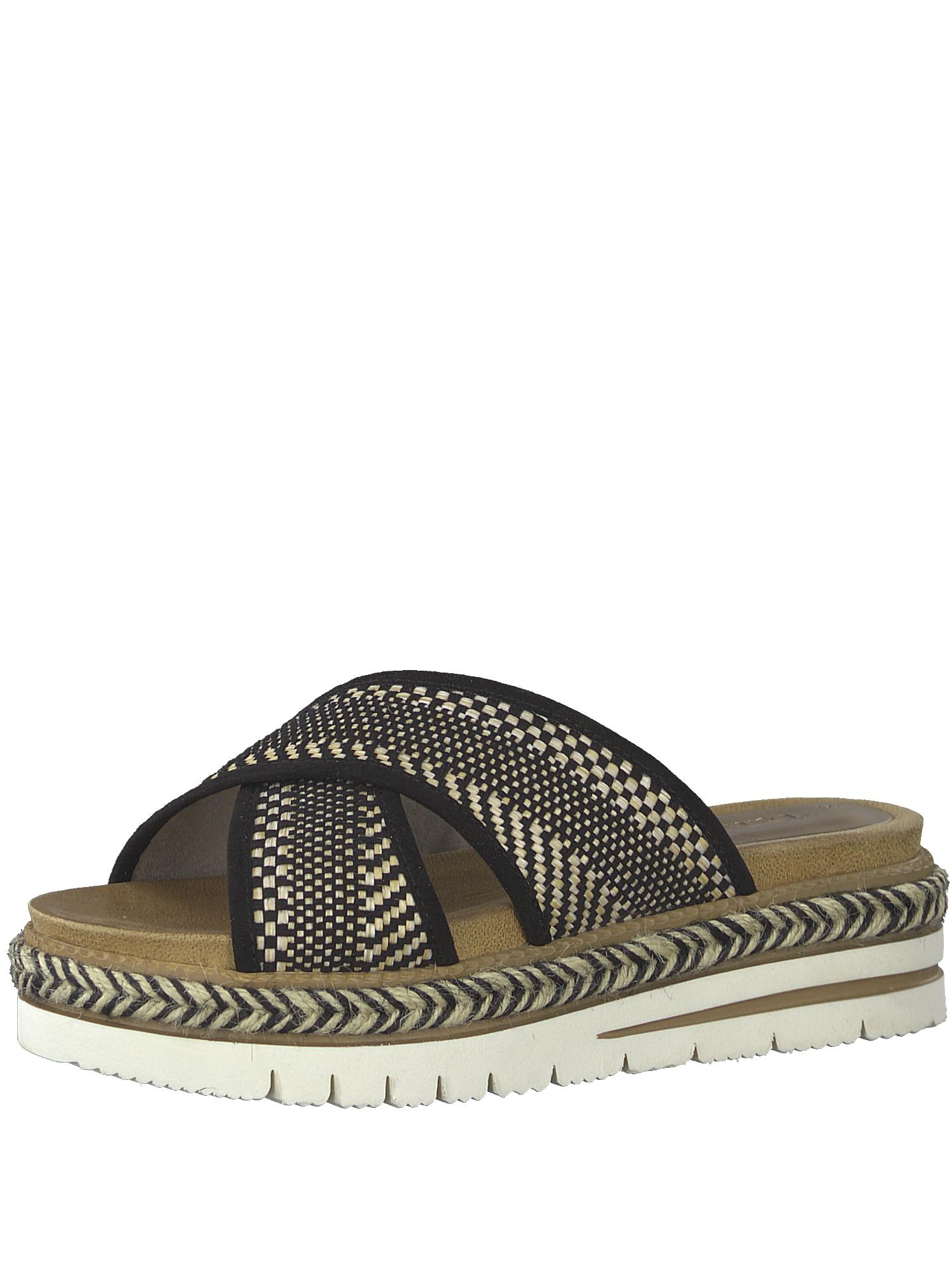 Pantofle písková černá bílá TAMARIS