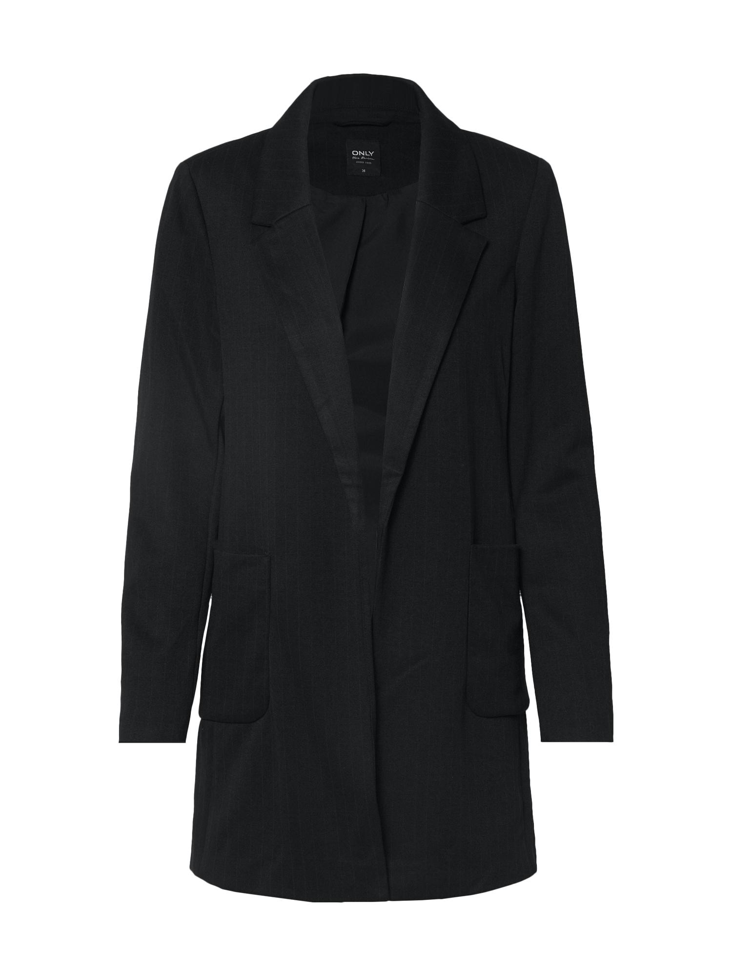 ONLY Prechodný kabát 'ONLBAKER-AUBREE L/S STRIPE COATIGAN PNT'  čierna