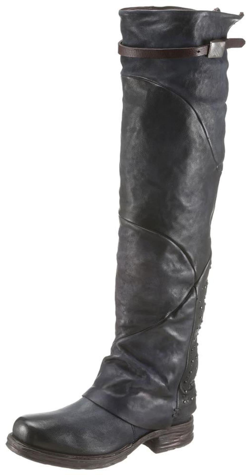 A.S.98, Dames Overknee laarzen, nachtblauw