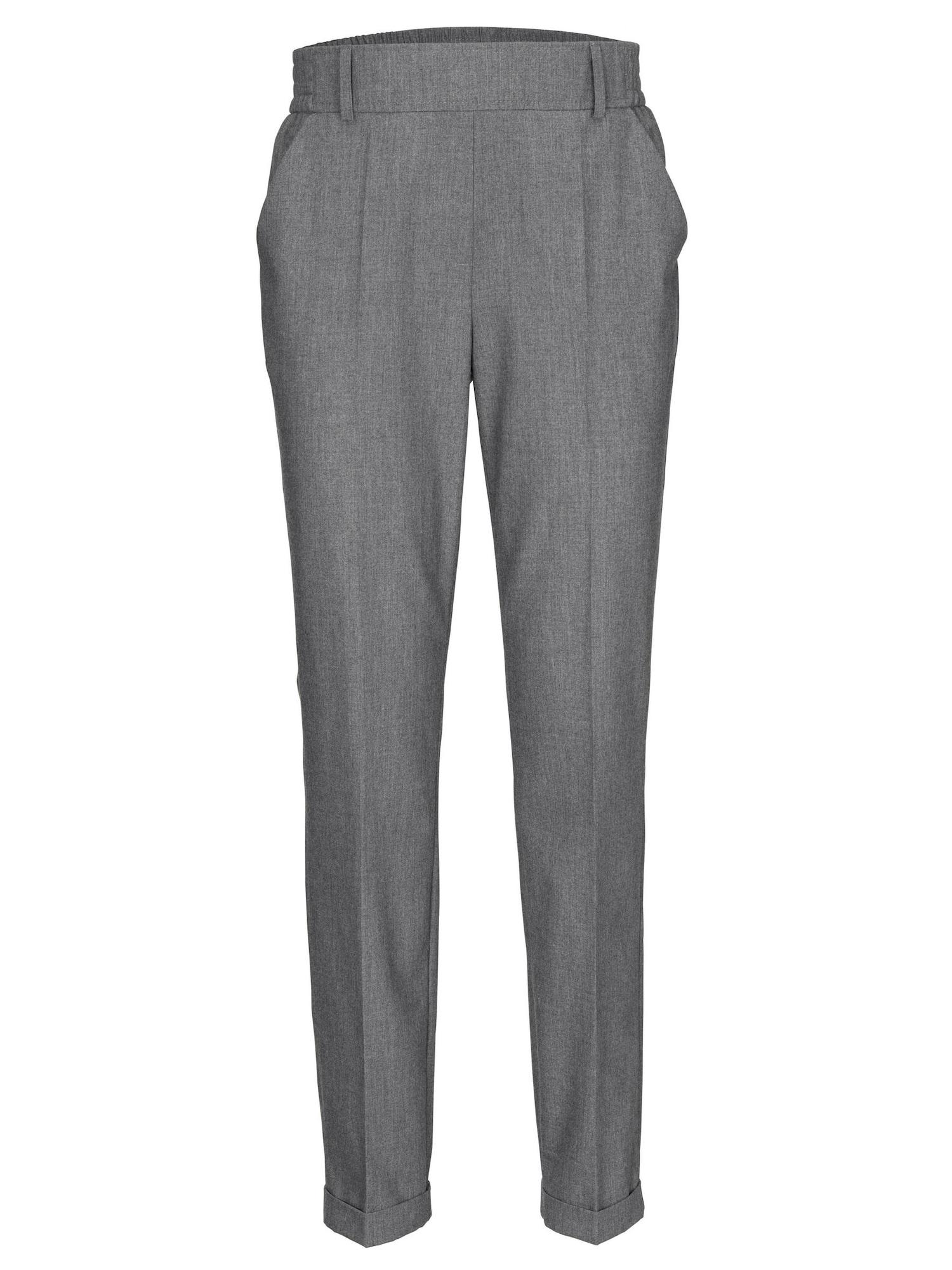 Kalhoty se sklady v pase šedý melír Heine