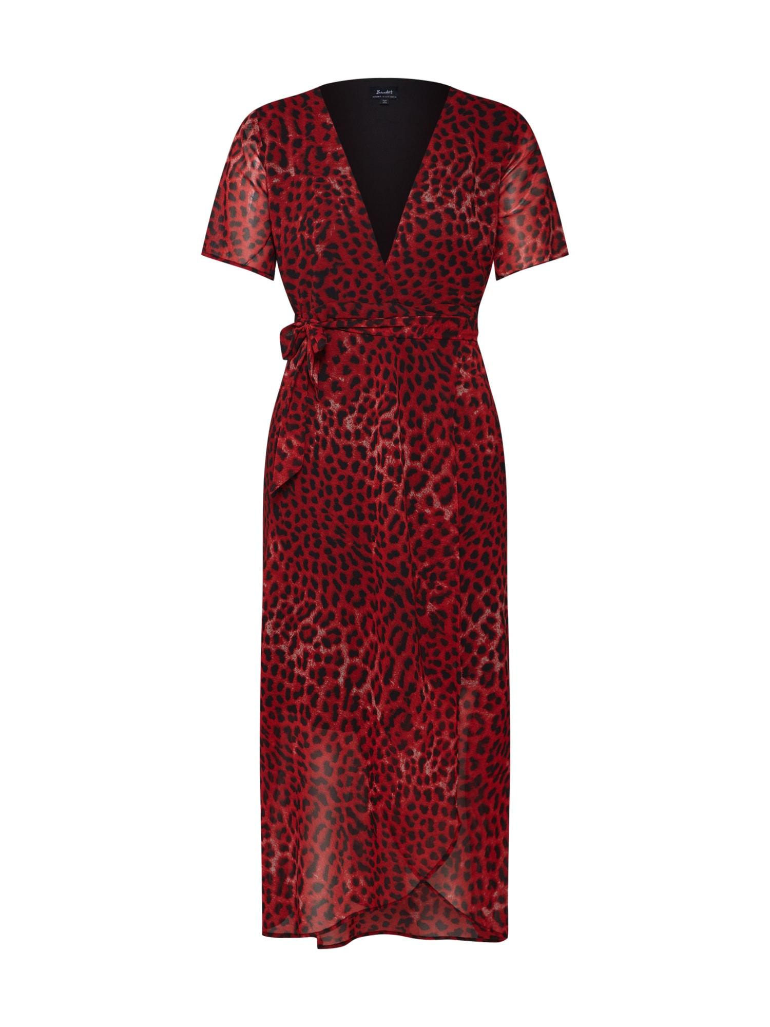 Letní šaty LEOPARD WRAP DRESS červená Bardot