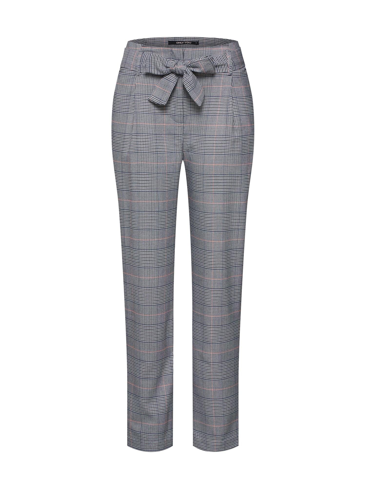 Kalhoty se sklady v pase onySOPHIE CHECK HW PAPERBAG šedá ONLY