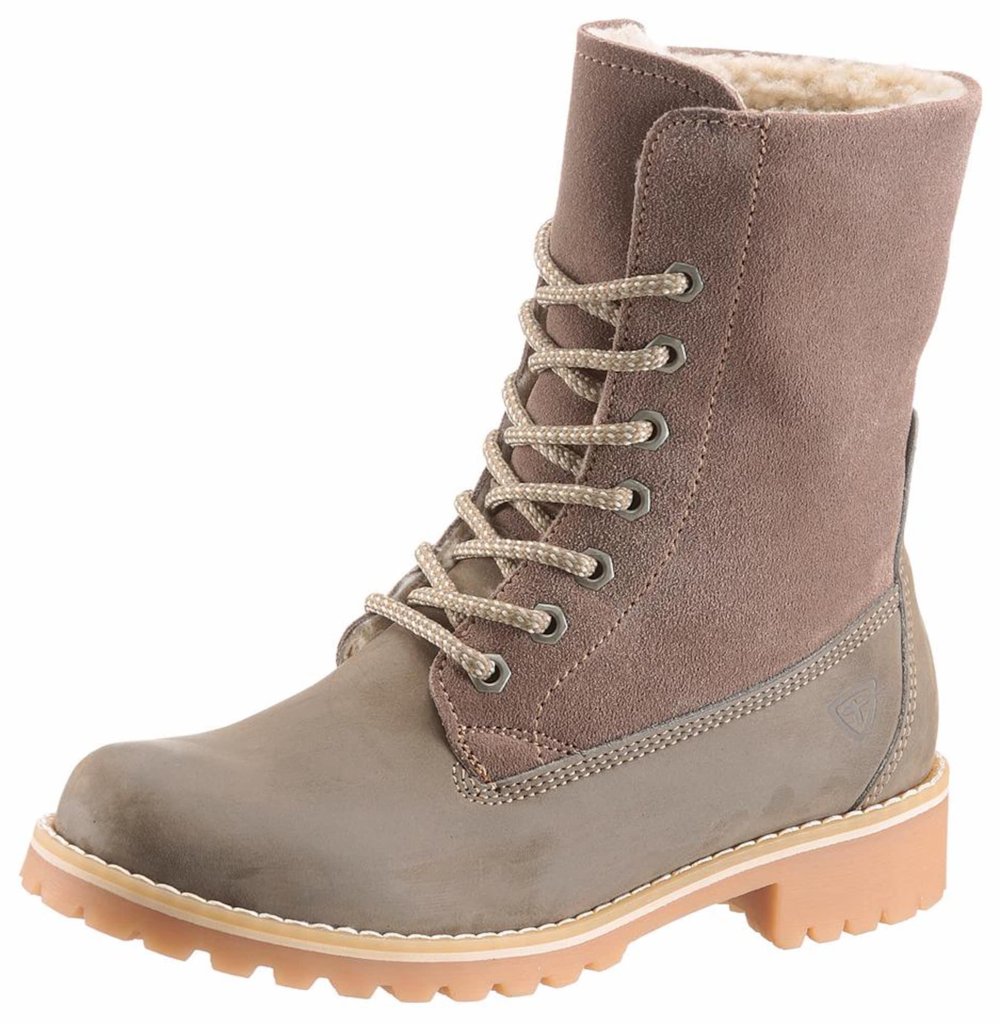 Šněrovací boty šedobéžová TAMARIS