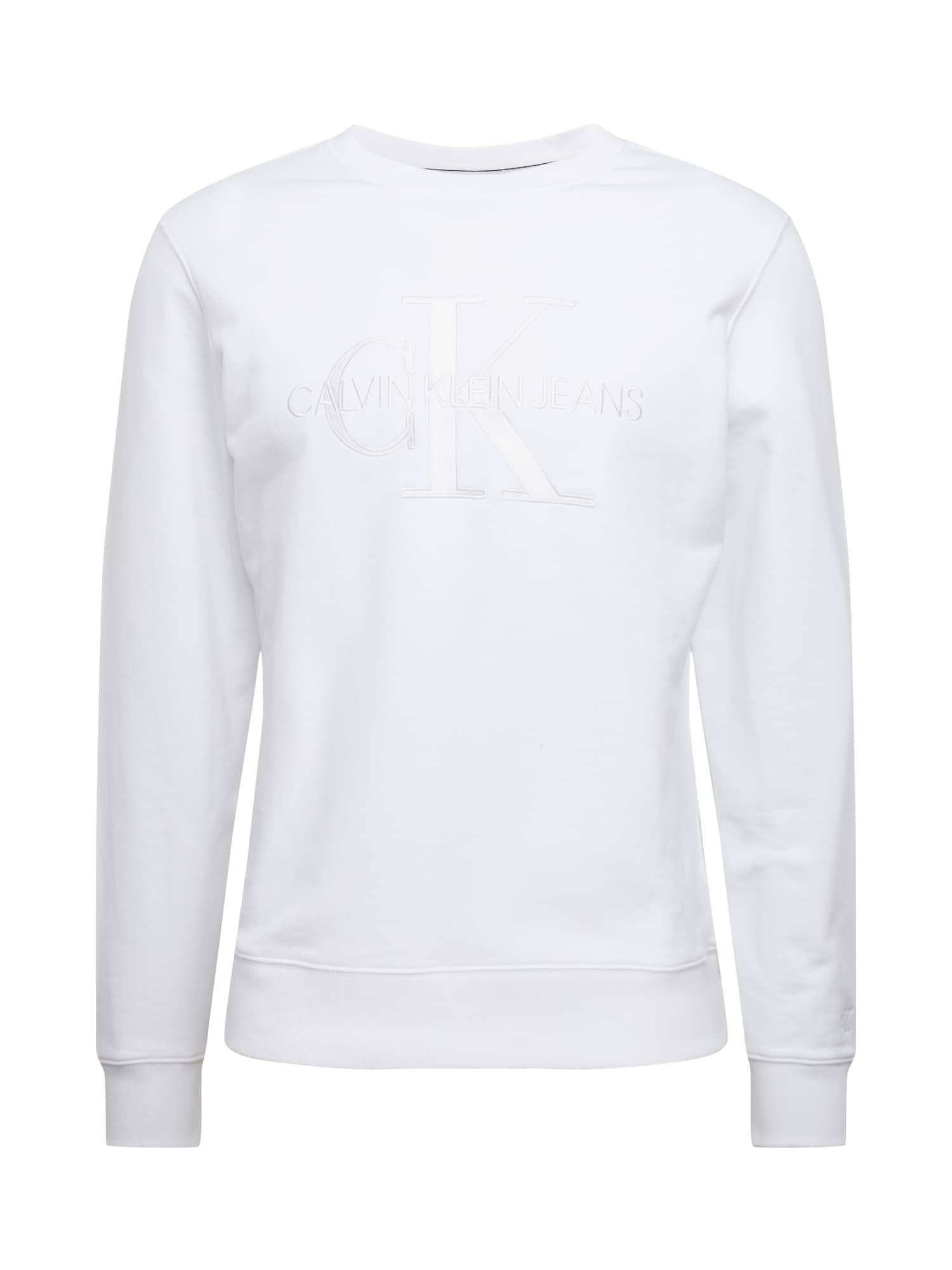 Calvin Klein Jeans Mikina 'White Monogram Embro CN'  bílá