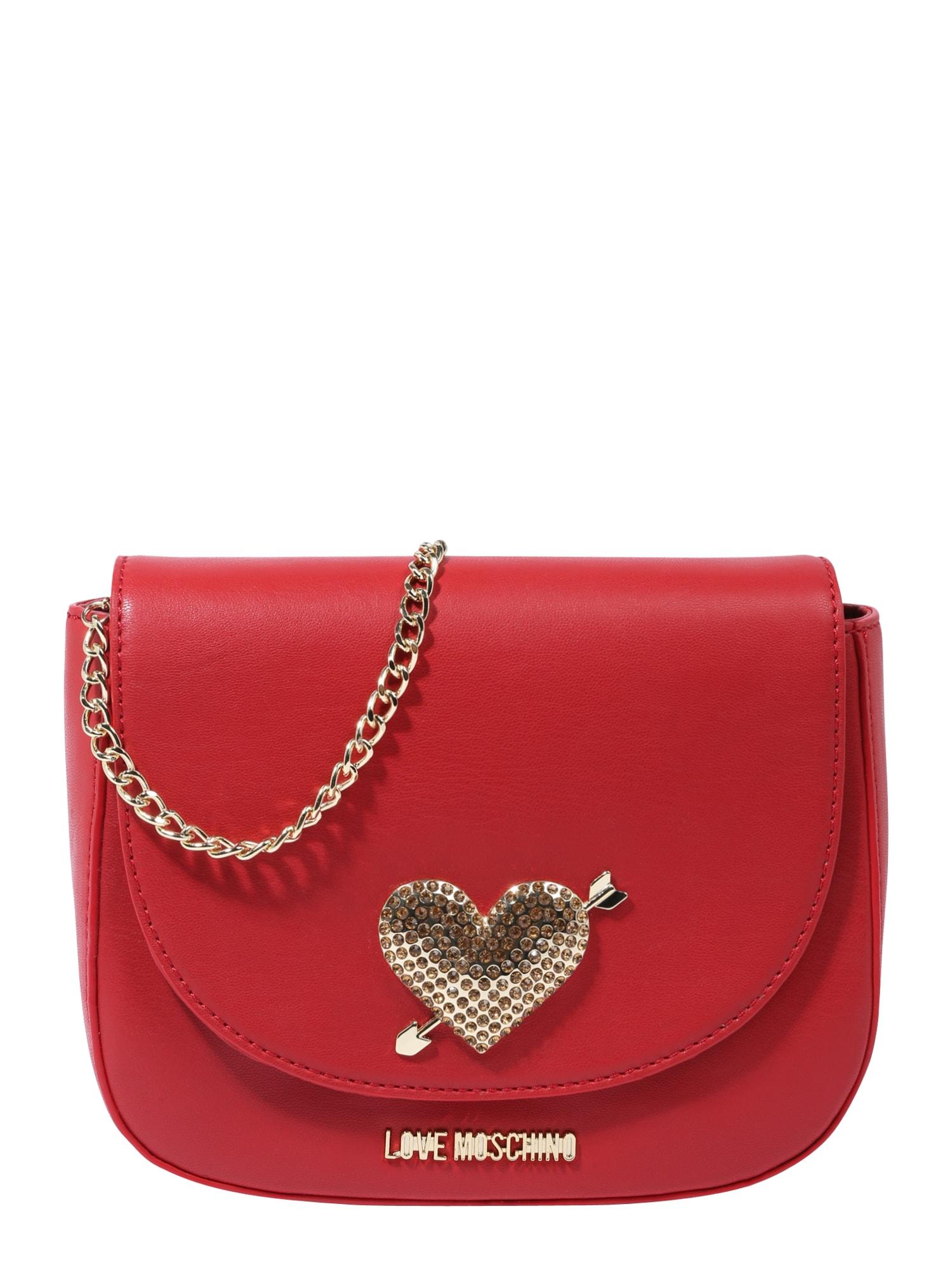 Taška přes rameno zlatá červená Love Moschino