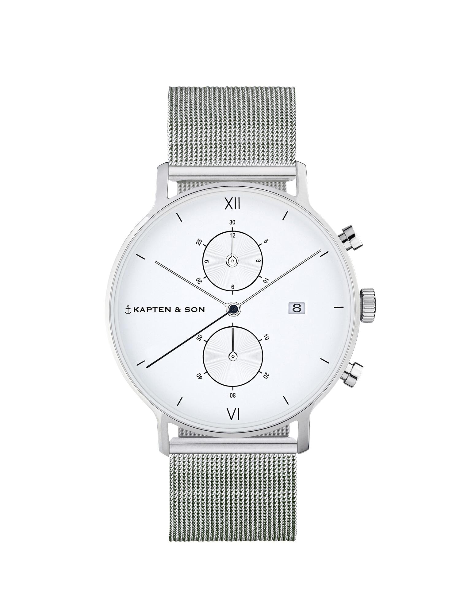 Analogové hodinky Small Chrono Mesh stříbrná Kapten & Son