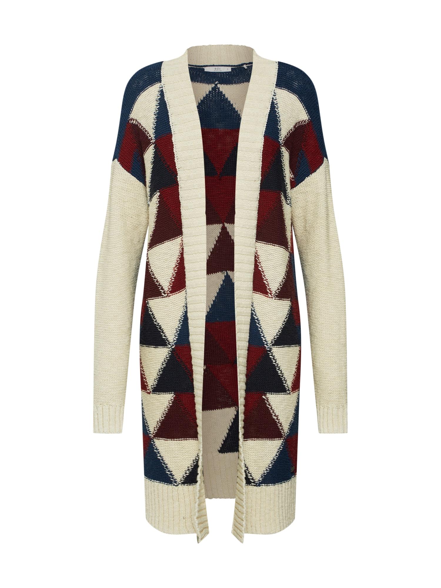 Kardigan geometrical jaq Sweaters cardigan krémová tmavě modrá červená EDC BY ESPRIT