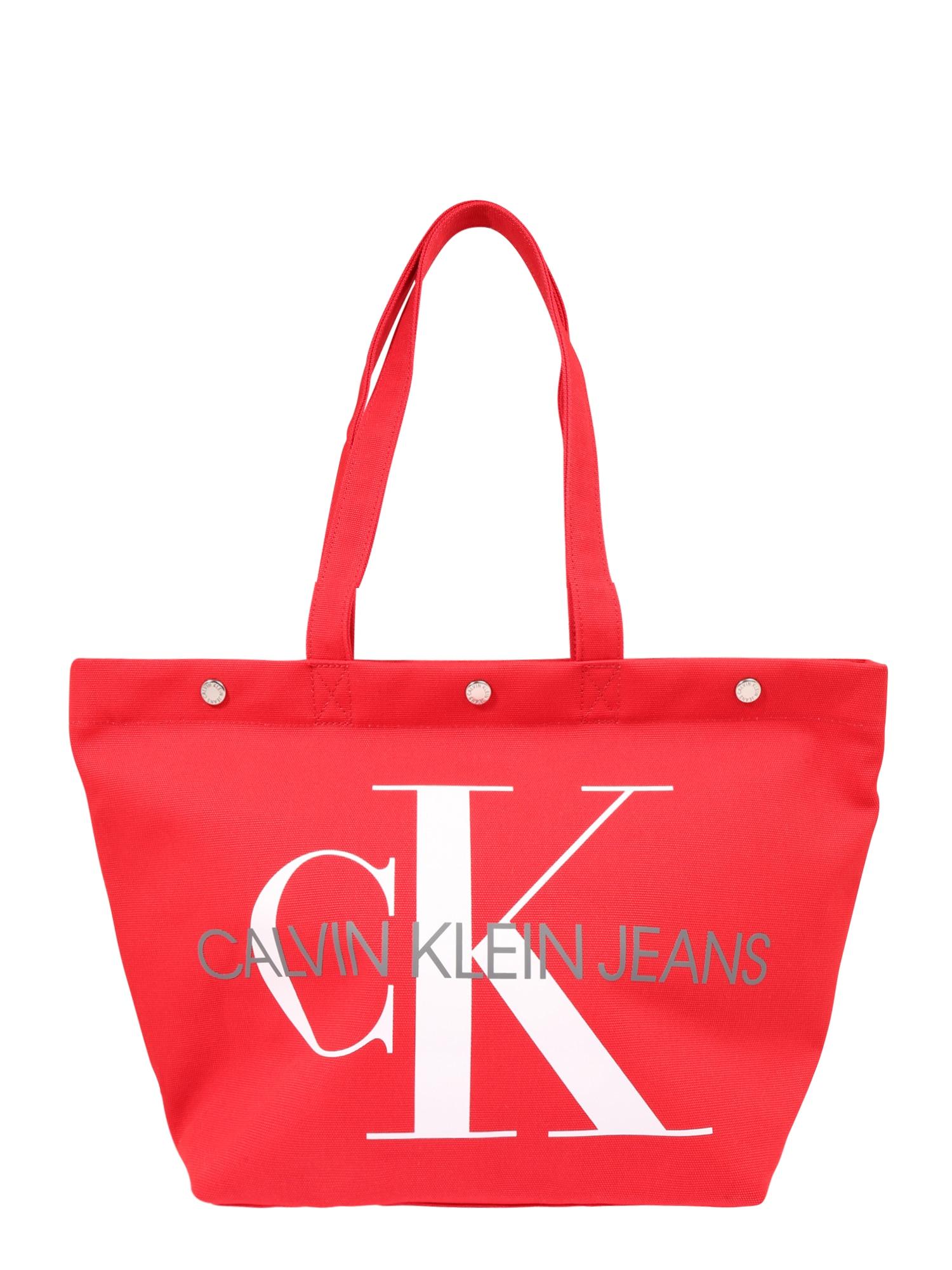 Nákupní taška EW BOTTOM TOTE MONOGRAM červená Calvin Klein Jeans