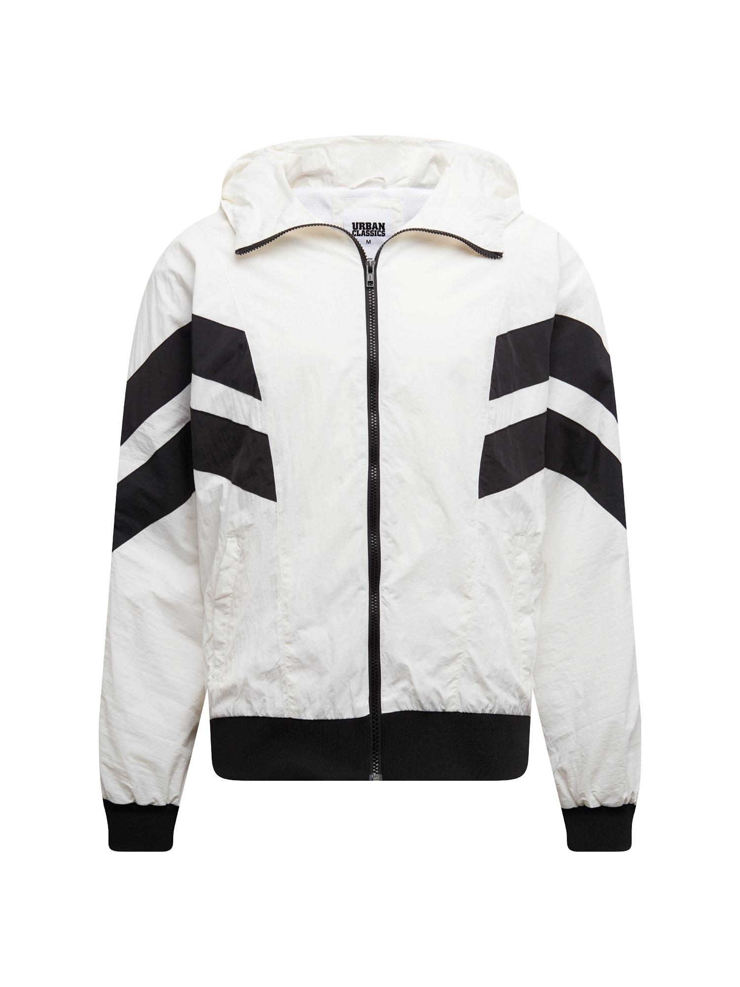 Přechodná bunda Crinkle Panel Track Jacket černá bílá Urban Classics