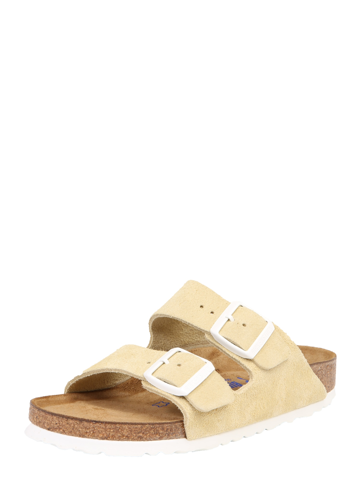 Pantofle Arizona Suede pastelově žlutá bílá BIRKENSTOCK