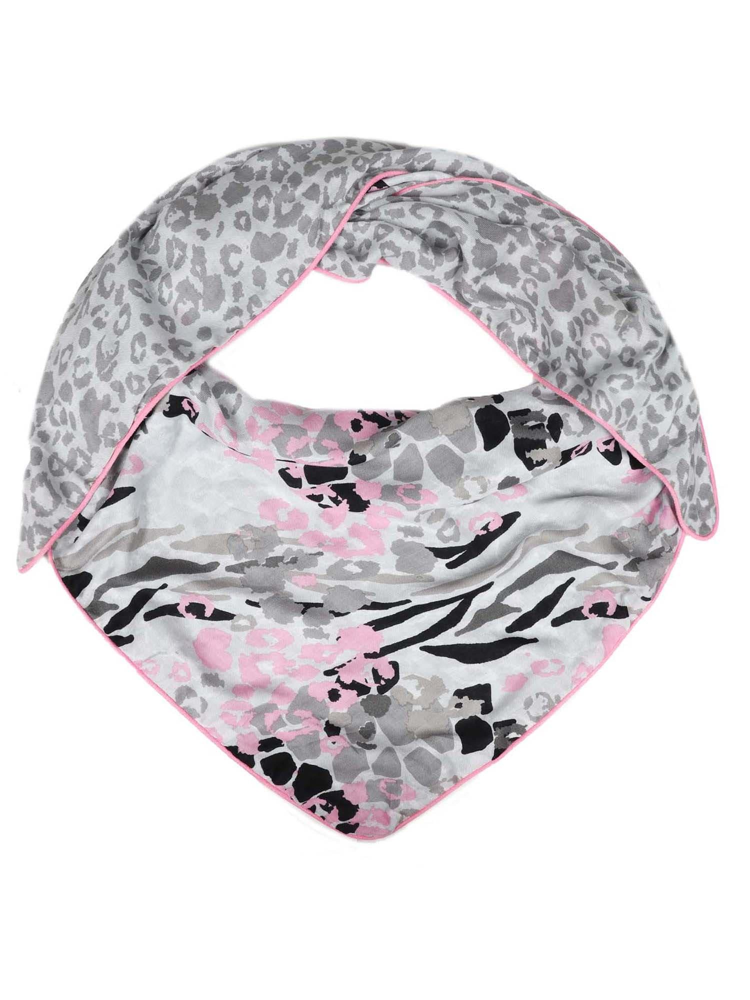 Šátek Leichtes Dreieck Leo šedá růžová bílá Zwillingsherz