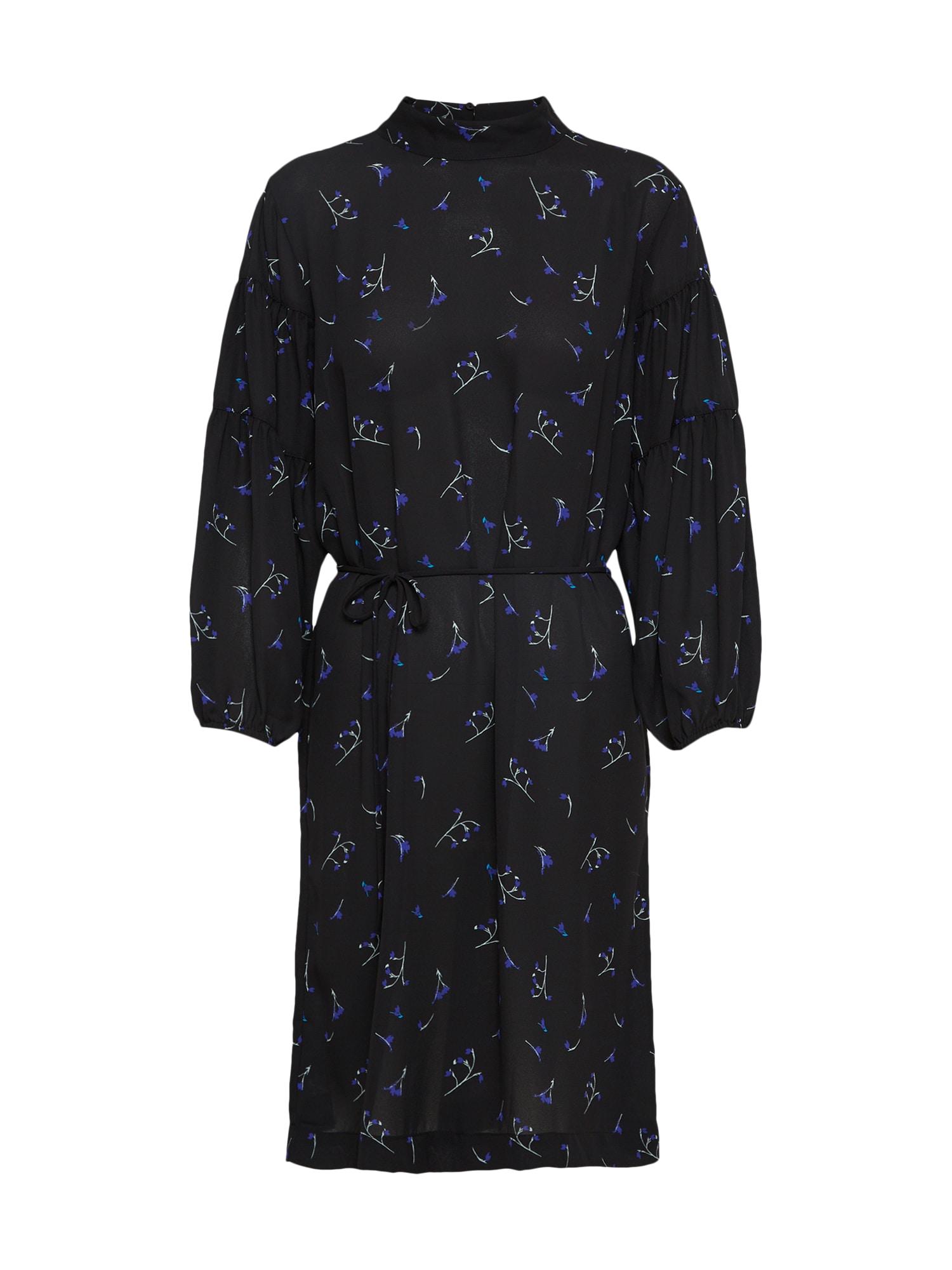 Košilové šaty královská modrá černá MOSS COPENHAGEN