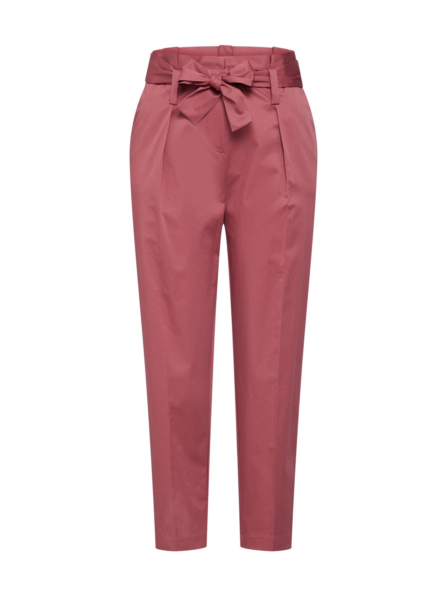 Kalhoty se sklady v pase Karo pastelově červená Iheart