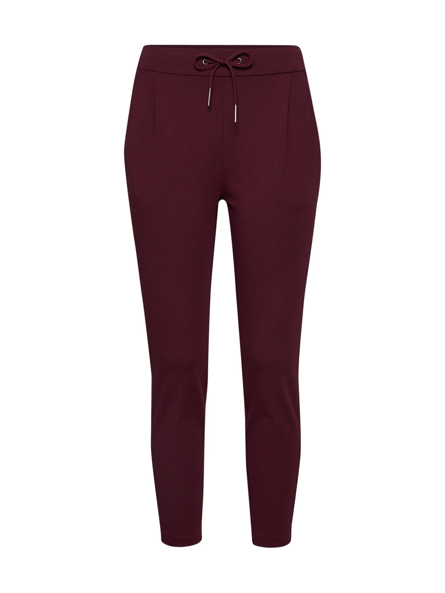 Kalhoty se sklady v pase vínově červená VERO MODA