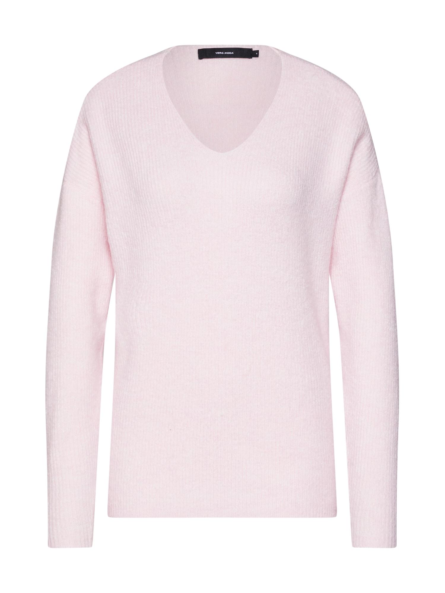 Svetr VMLEFILE LS V-NECK pink VERO MODA