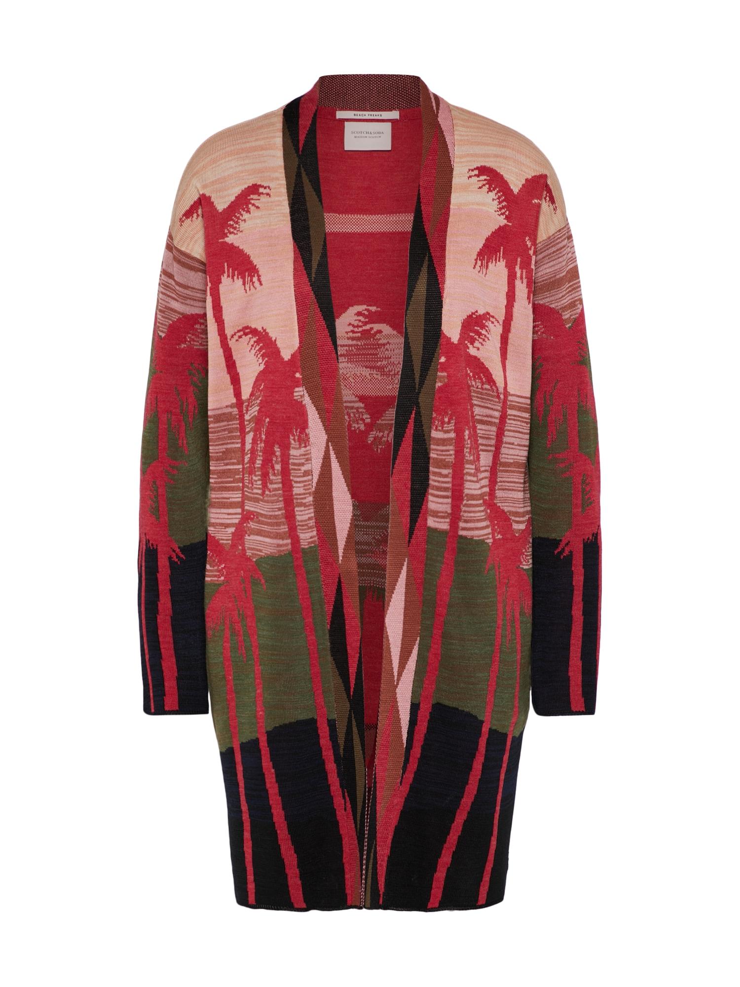 SCOTCH  and  SODA Dames Gebreid vest Longer length cardigan kaki rood zwart
