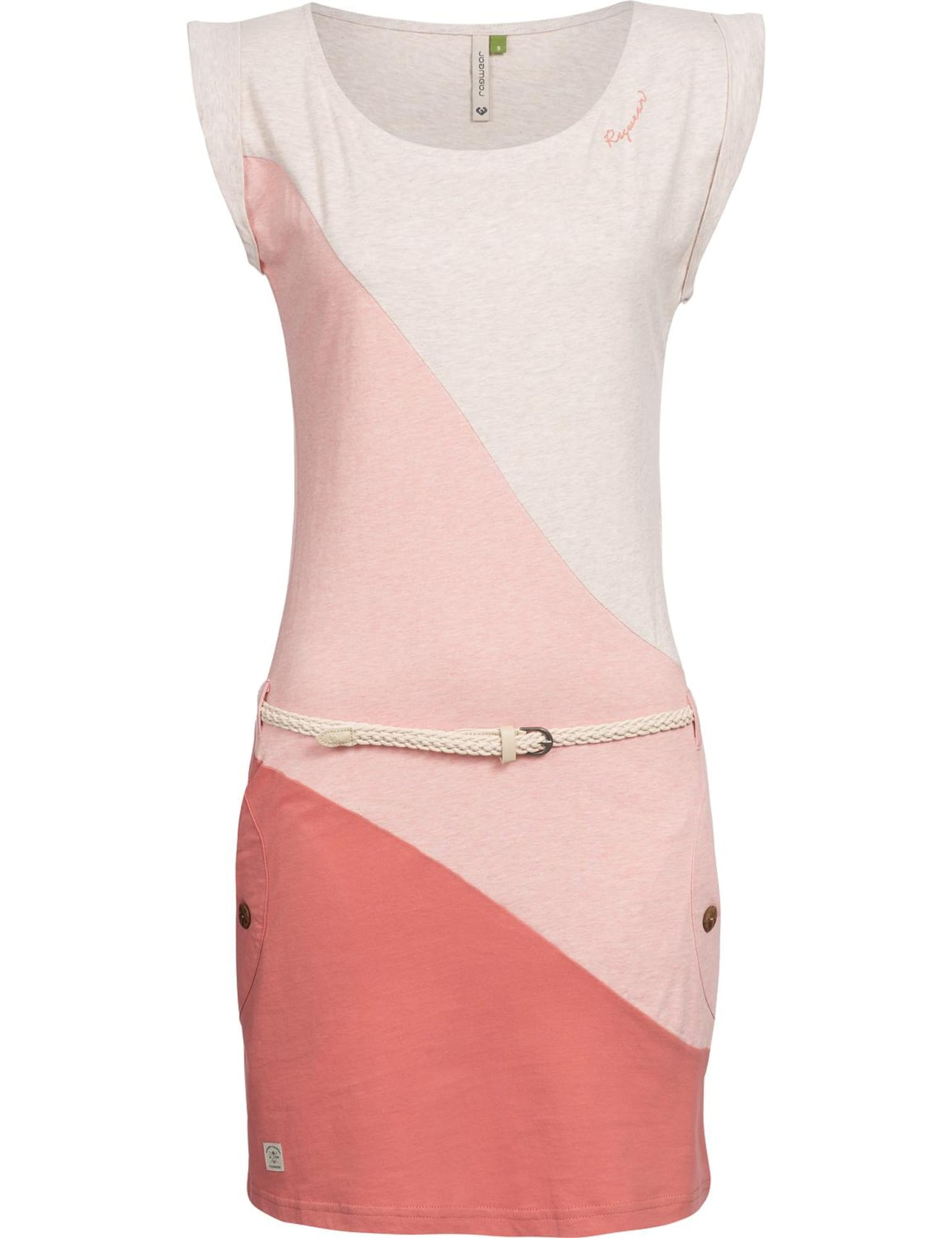 Letní šaty Tag Block Organic béžový melír růžová pastelově červená Ragwear