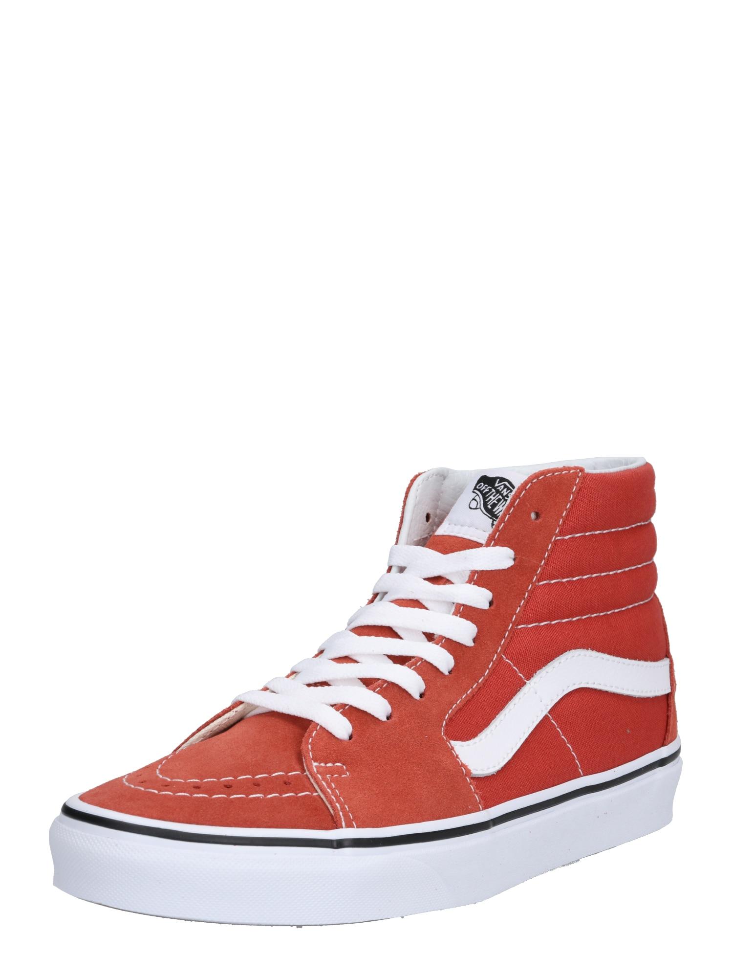 Kotníkové tenisky oranžově červená bílá VANS