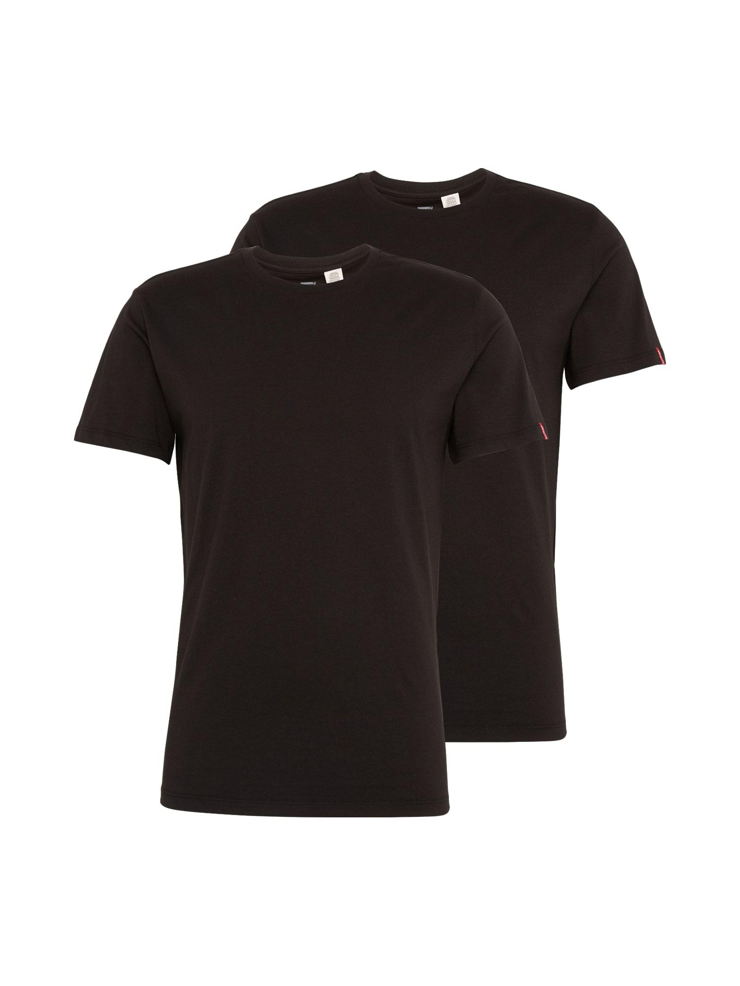 LEVI'S Heren Shirt SLIM 2 PACK CREW TEE zwart