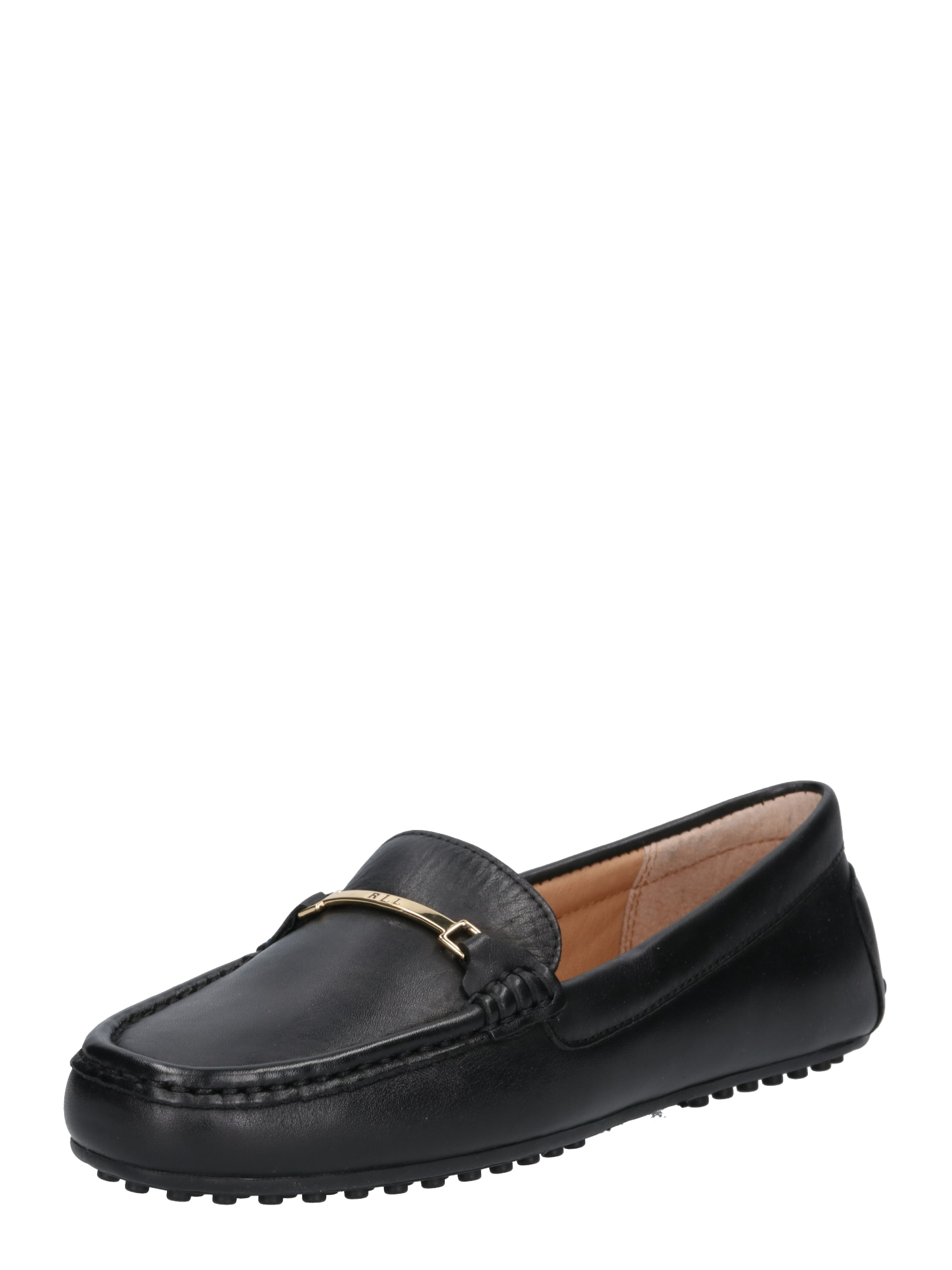 Slipper Briony leather černá Lauren Ralph Lauren