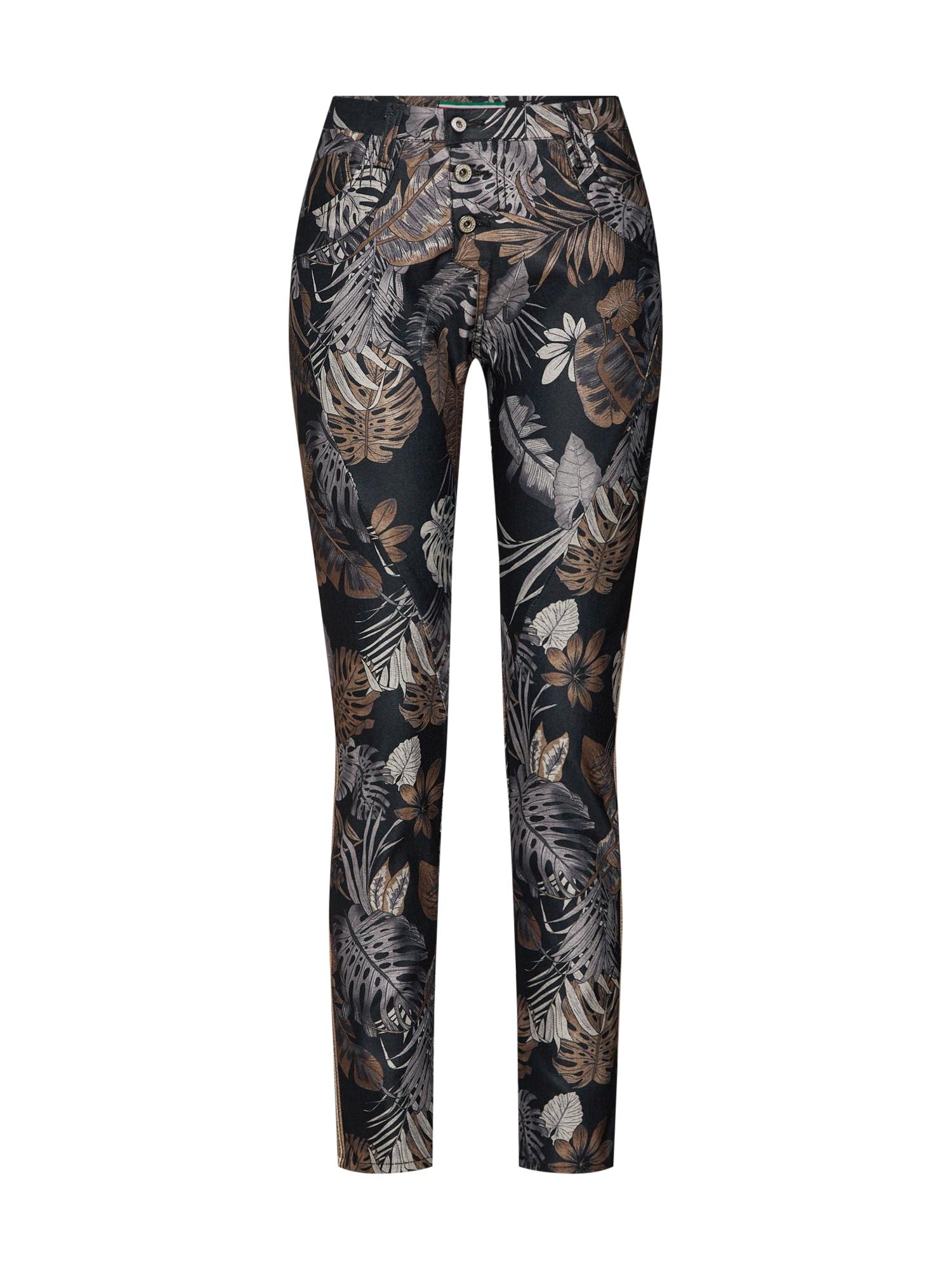 Kalhoty trousers béžová černá PLEASE