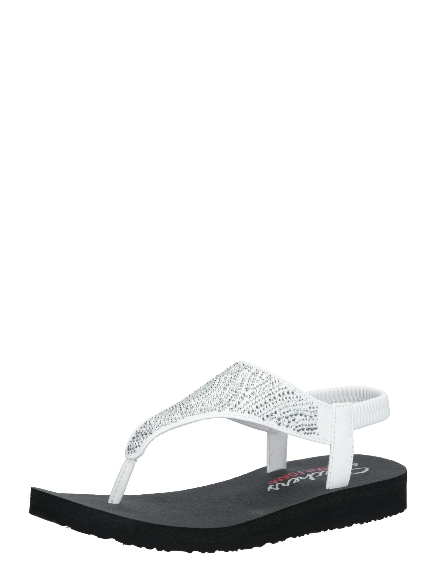 SKECHERS Remienkové sandále 'MEDITATION NEW MOON'  čierna / biela