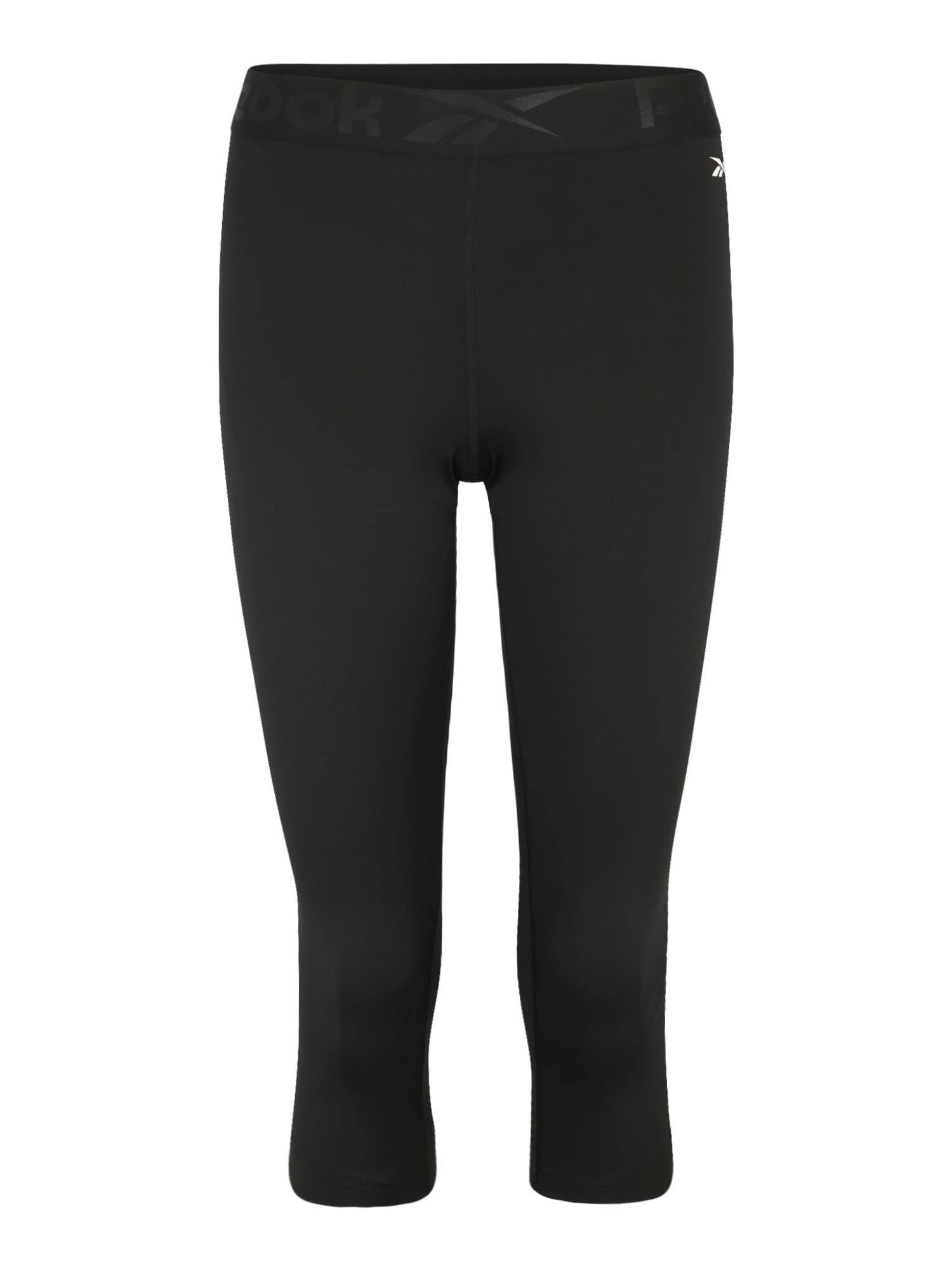 REEBOK Športové nohavice  tmavosivá / čierna