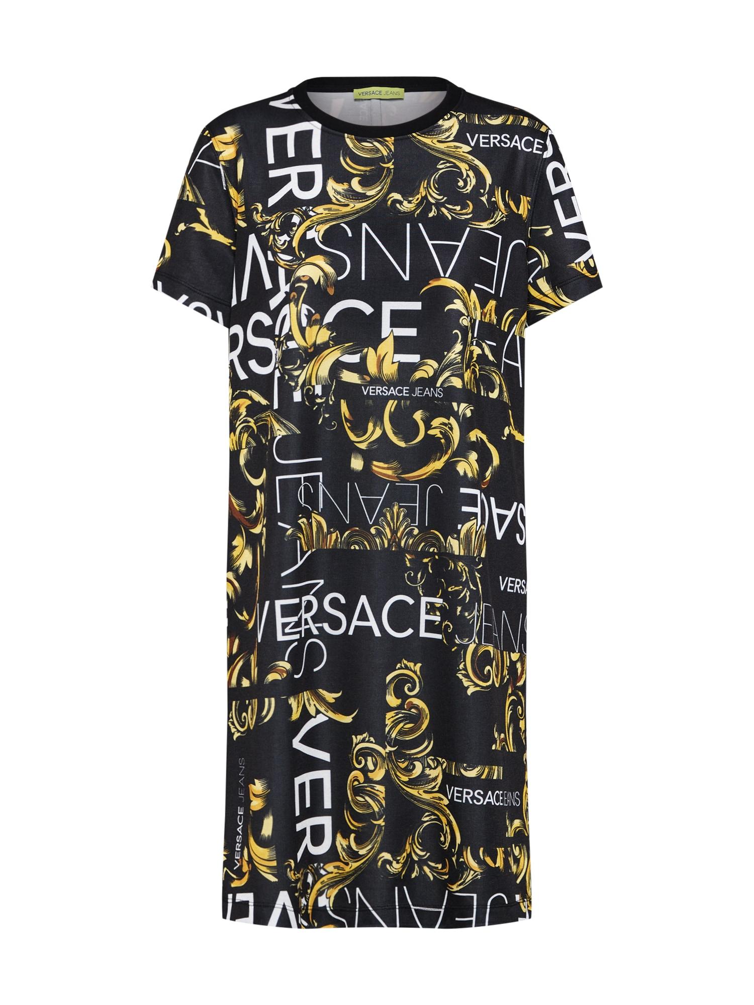 Šaty TDP927 print tyrkysová černá Versace Jeans
