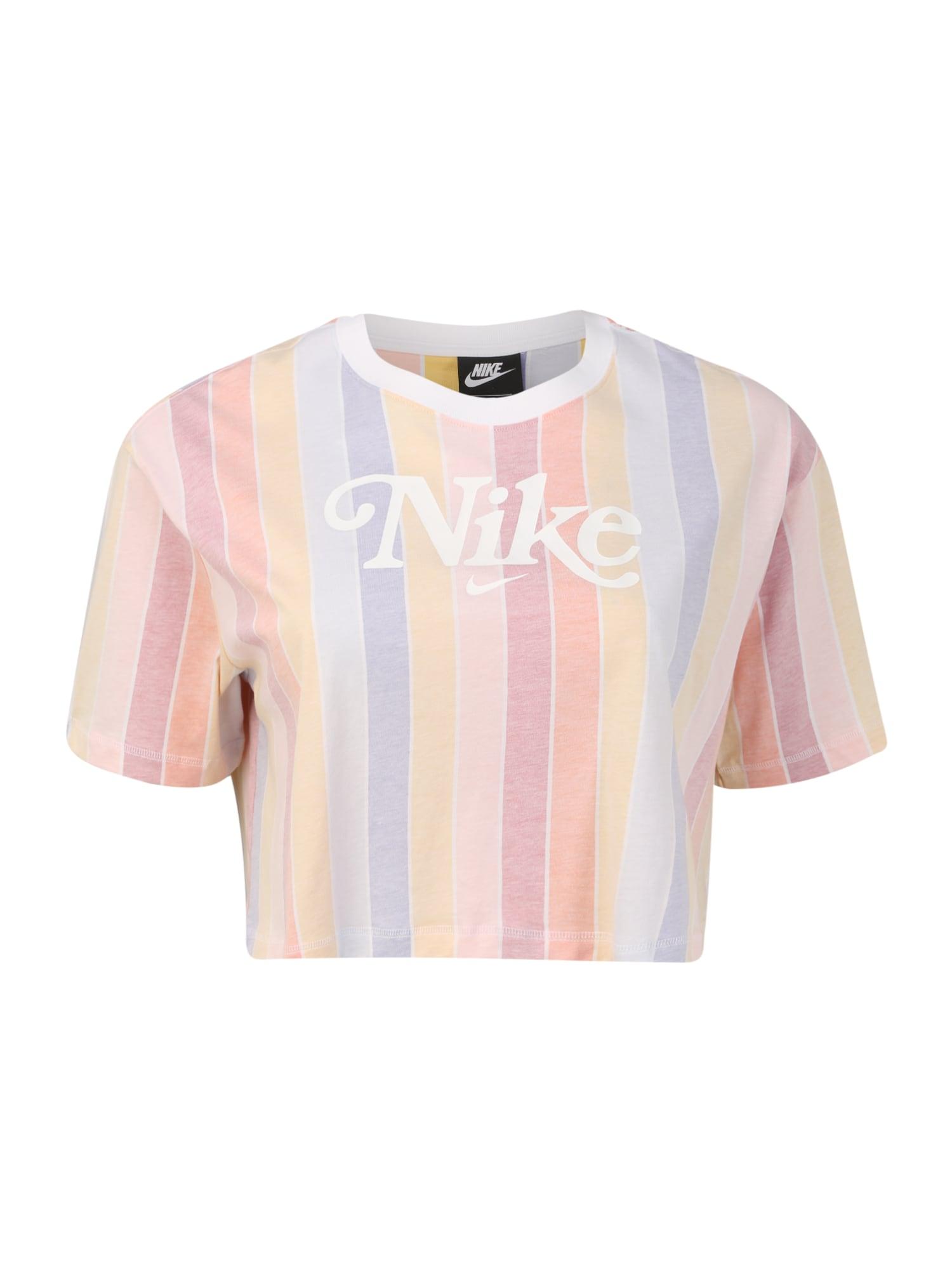 Nike Sportswear Tričko 'RET FEM'  světle žlutá / bílá / světle červená / světle růžová / kouřově modrá