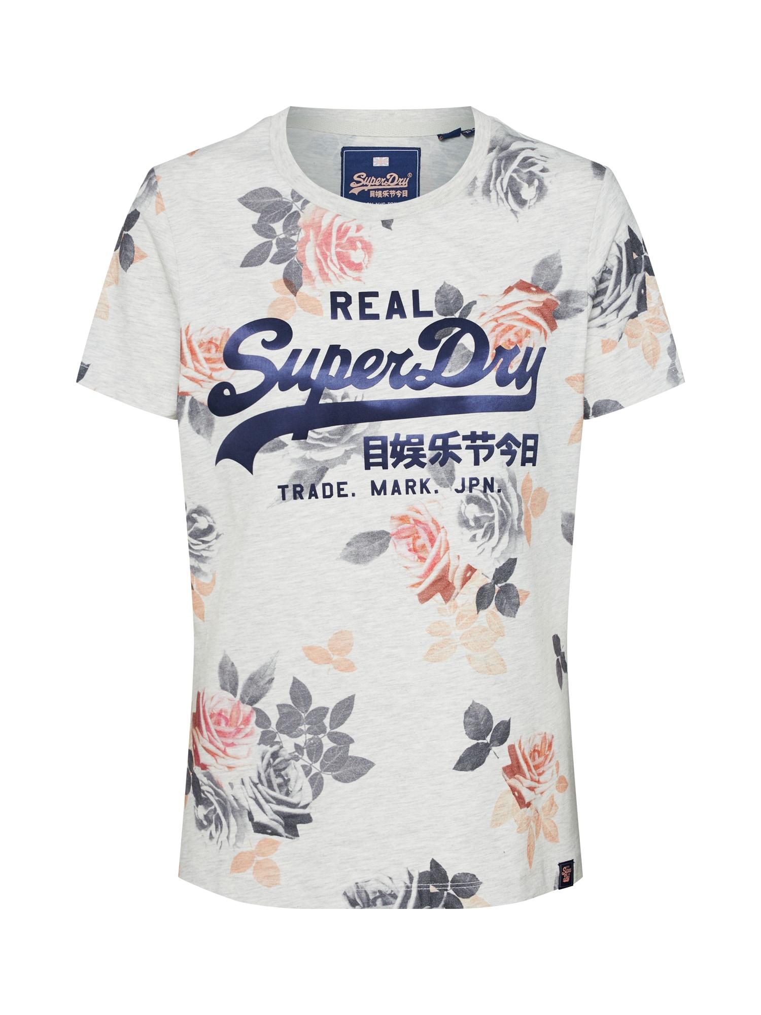 Tričko růžová bílá Superdry