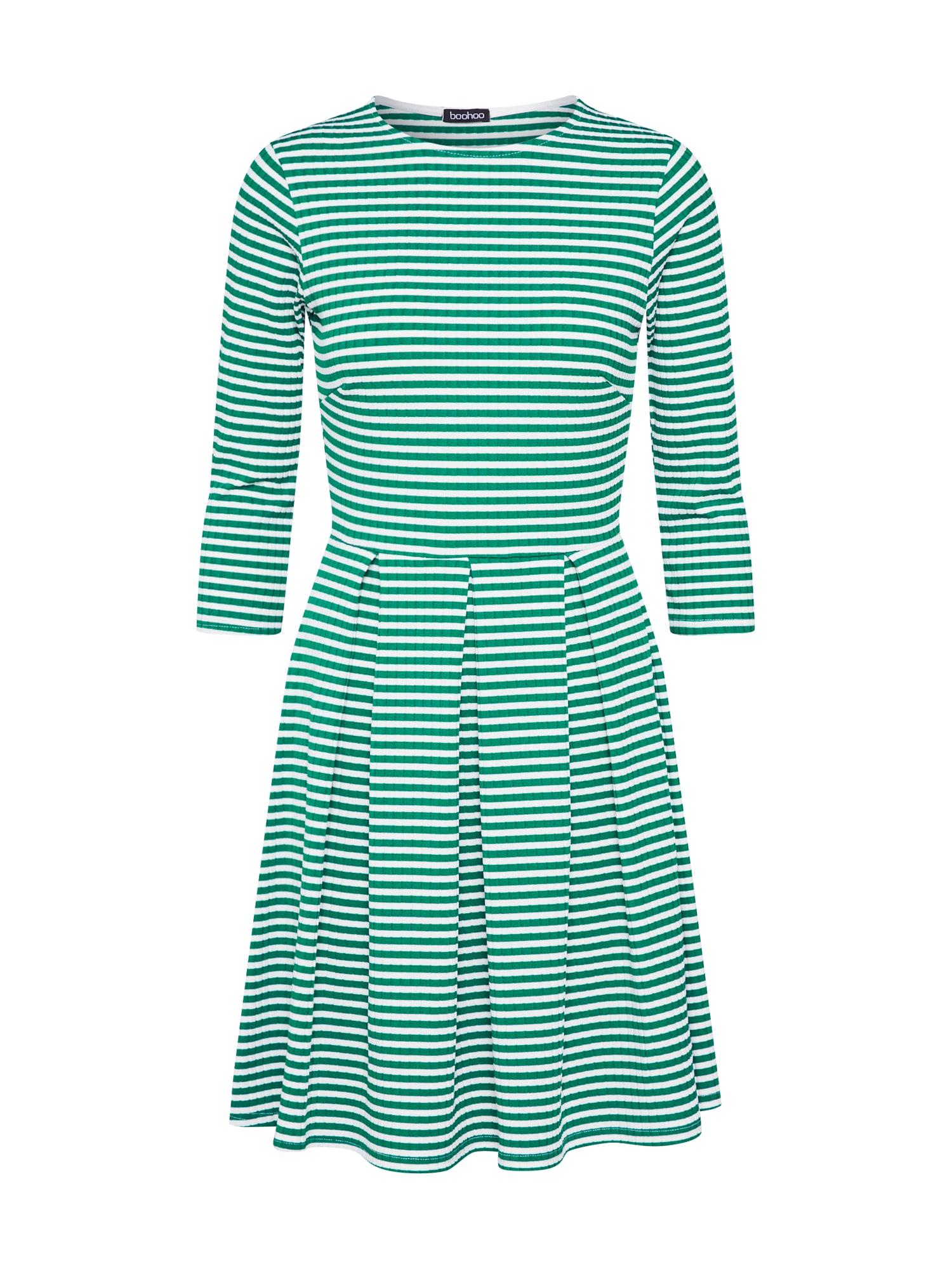 Šaty zelená bílá Boohoo