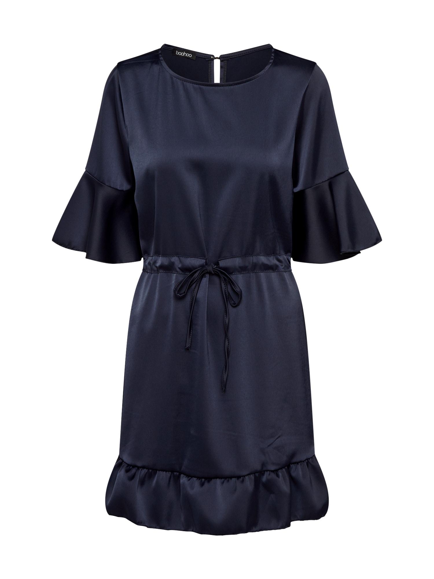 Šaty SATIN DRAWCORD námořnická modř Boohoo