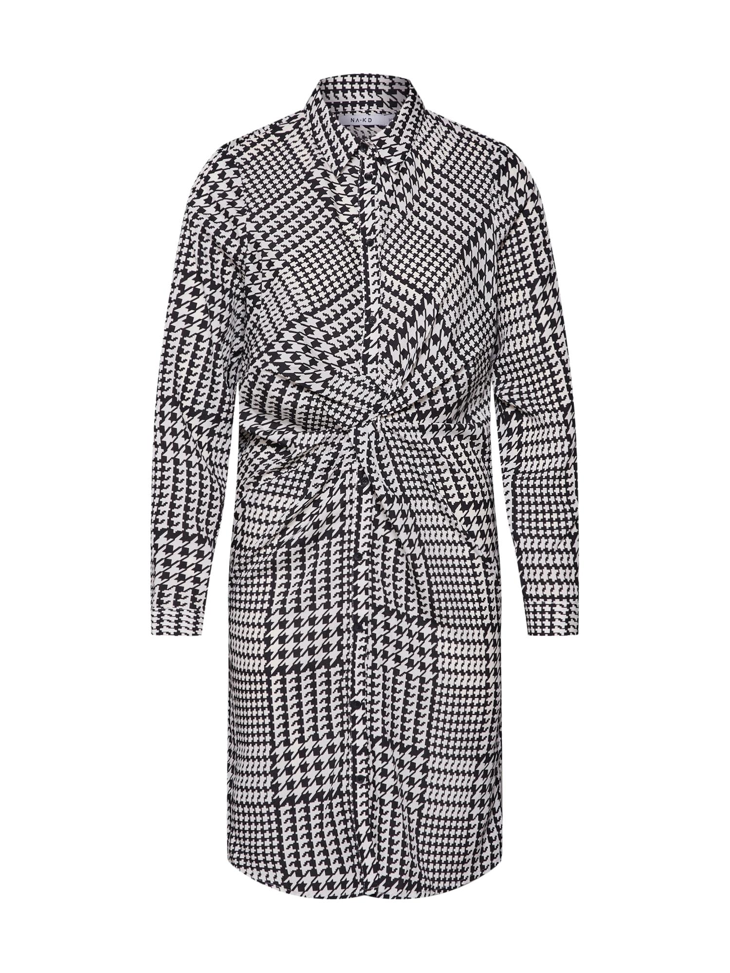 Šaty Twist Detail černá bílá NA-KD