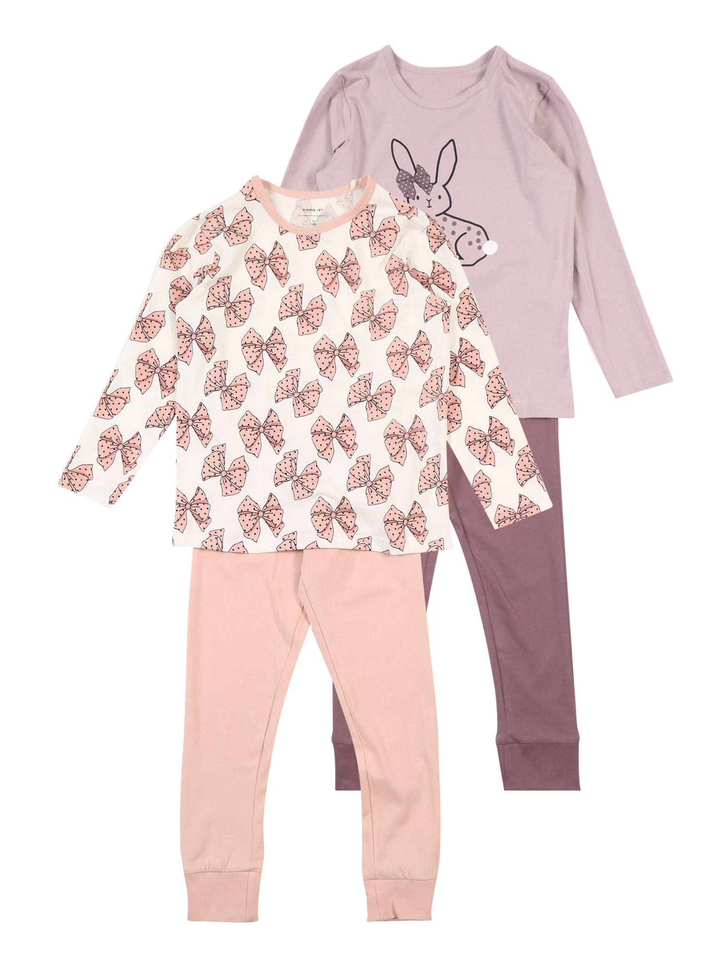 Pyžamo NMFLUFIE 2P NIGHTSET béžová fialová bledě fialová pink bílá NAME IT