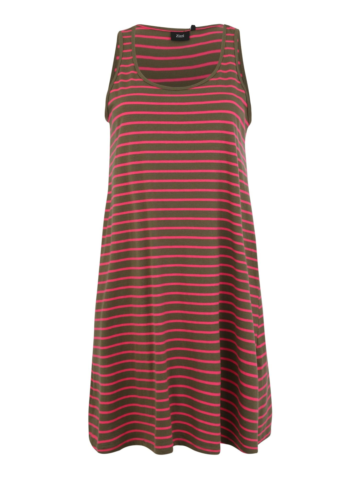 Šaty MINA hnědá šedá rezavě červená Zizzi