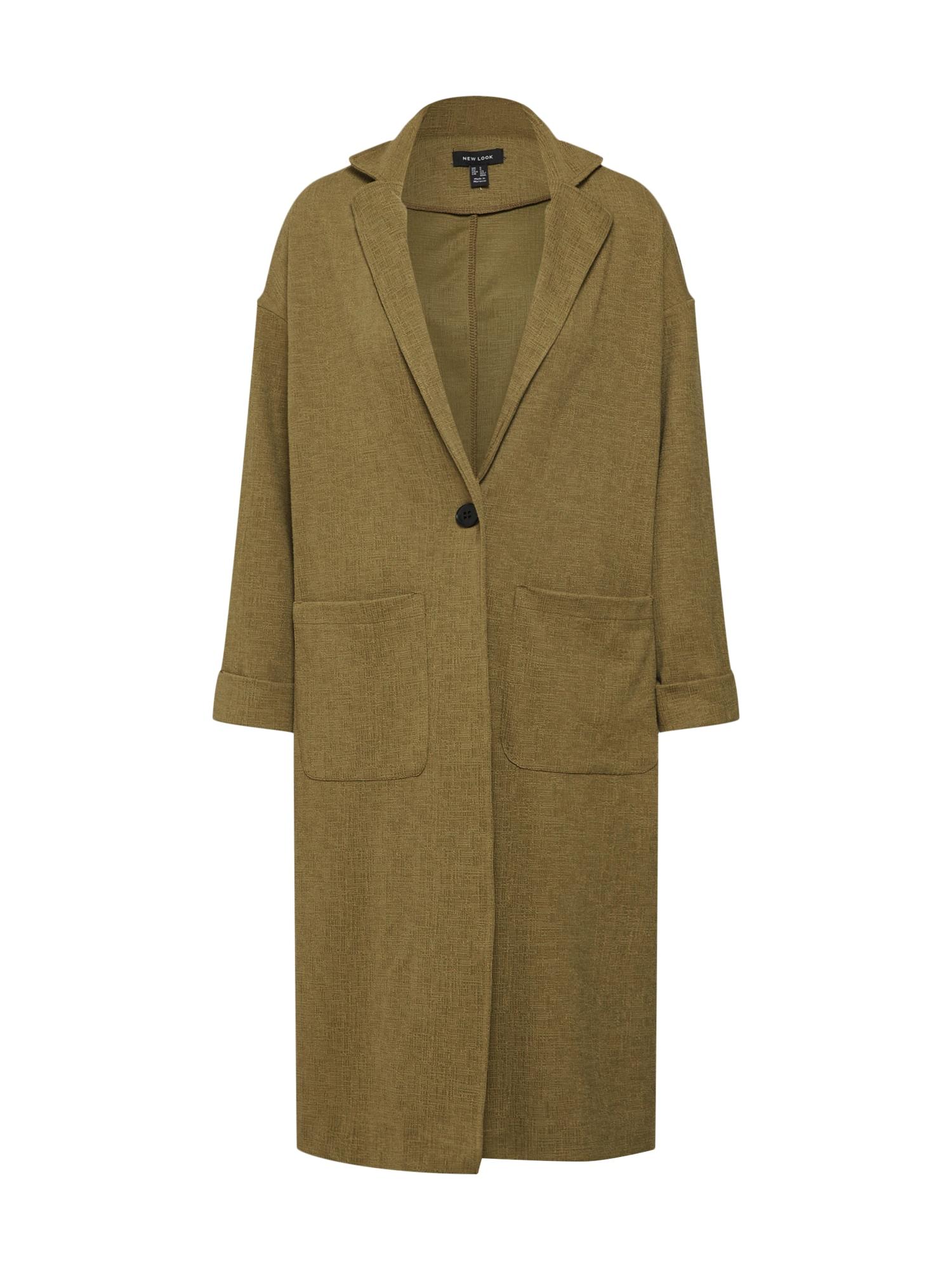 Přechodný kabát 27.04 WW TEXTURED DUSTER P84 khaki NEW LOOK