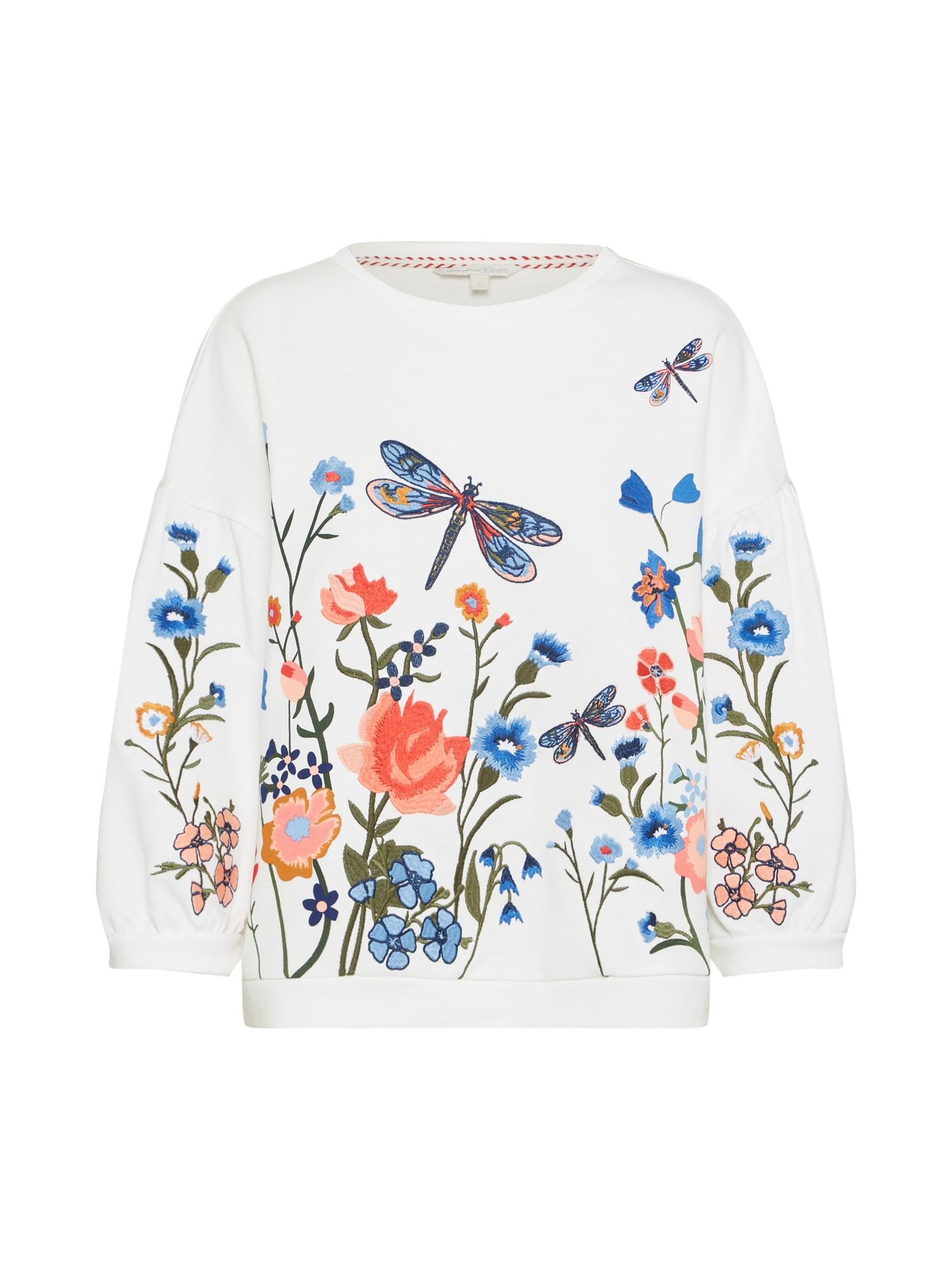 TOM TAILOR DENIM, Dames Sweatshirt, gemengde kleuren / offwhite