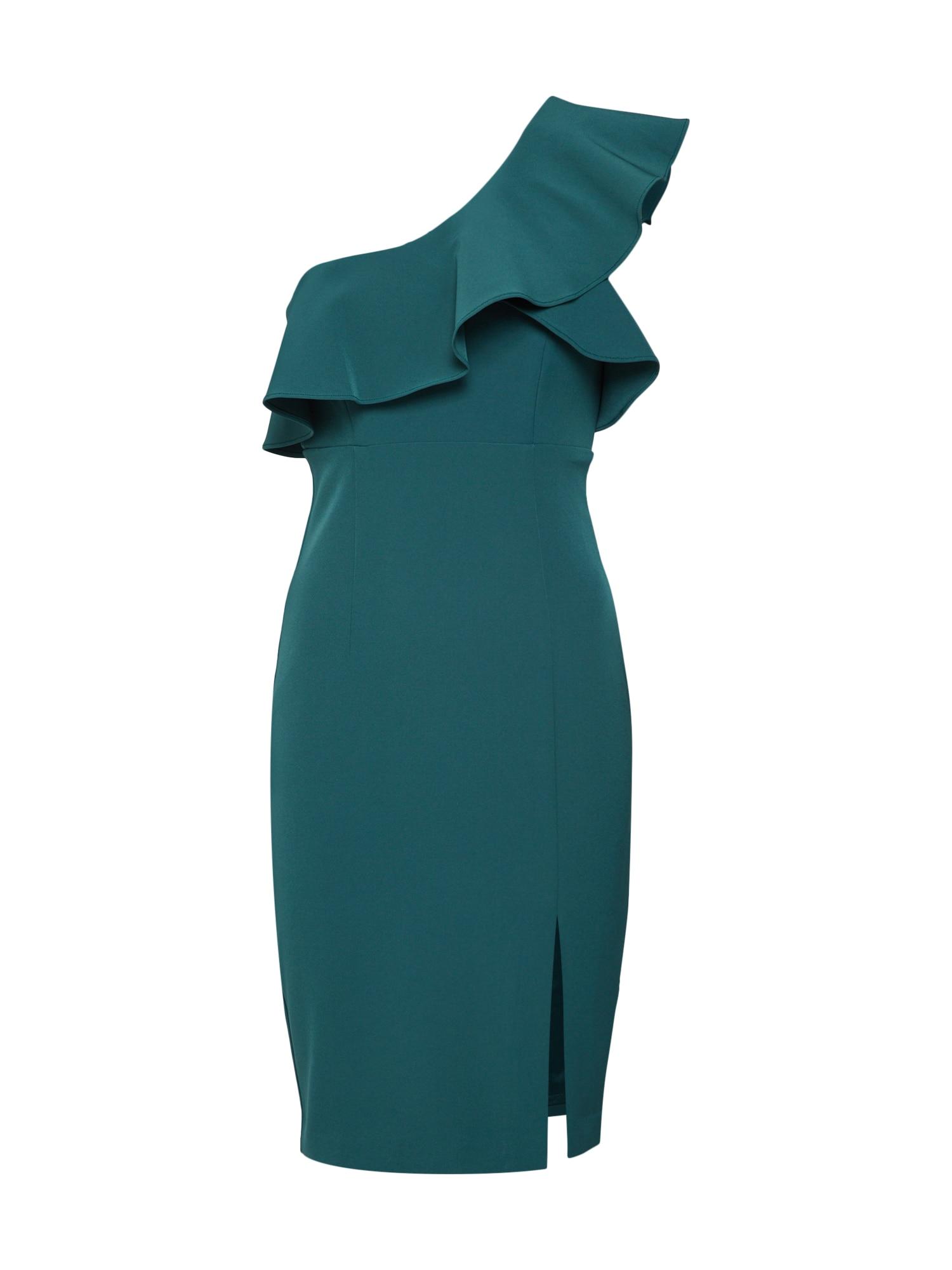 Koktejlové šaty RUFFLE petrolejová Bardot