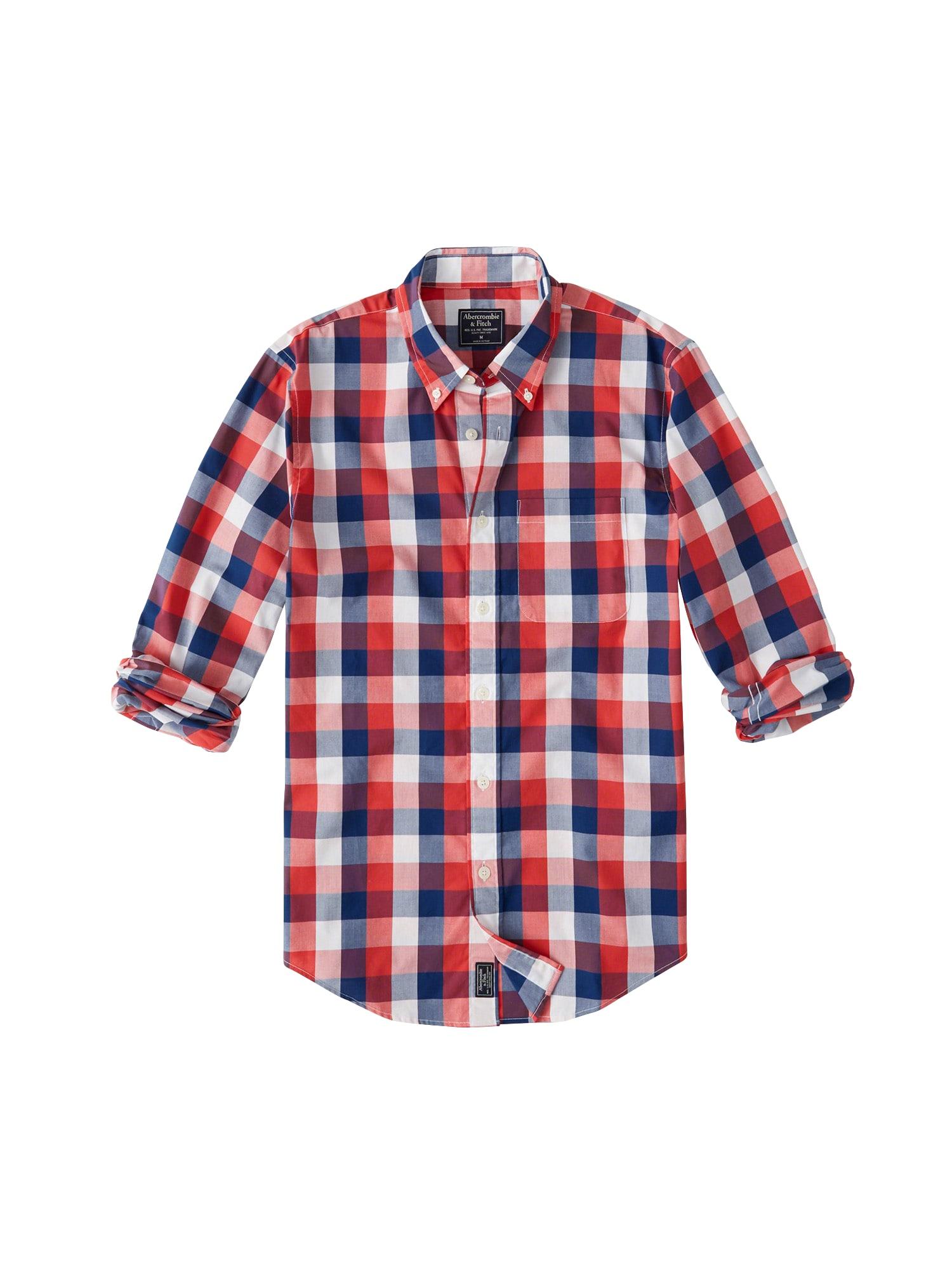 Košile CHECK POPLIN TRO červená Abercrombie & Fitch