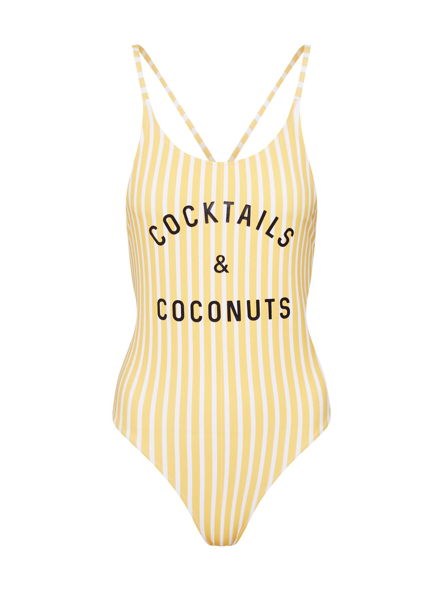 Plavky COCONUTS ONE PIECE  žlutá černá bílá CATWALK JUNKIE