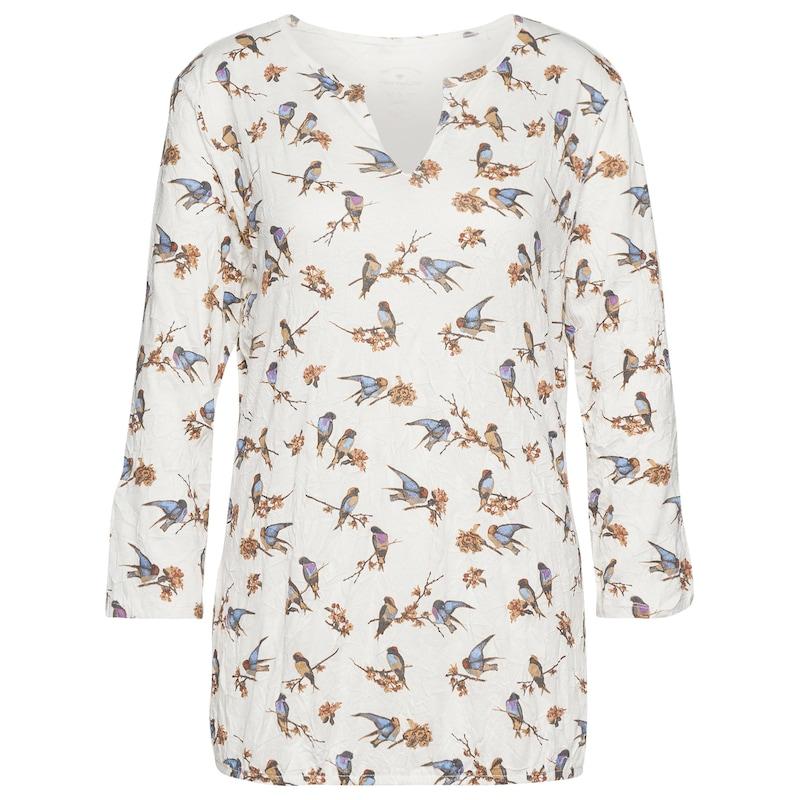 TOM TAILOR T-Shirt Crinkle-Shirt mit Vogel-Print - broschei
