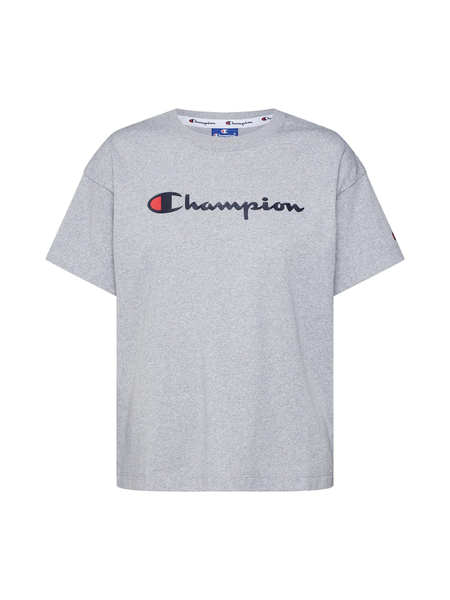Tričko Rochester Crewneck světle šedá červená černá Champion Authentic Athletic Apparel