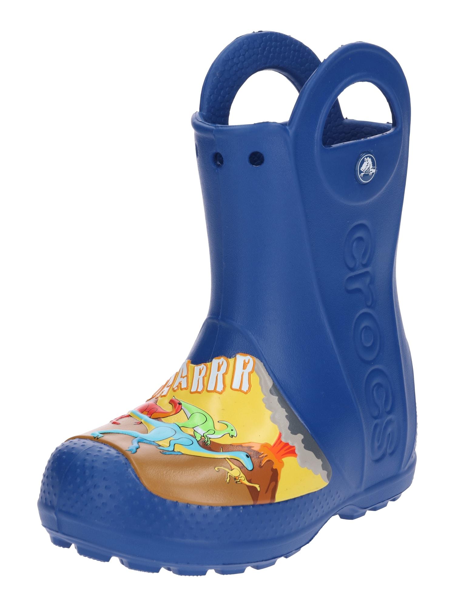 Gumové holínky Dino Rain Boot K modrá mix barev Crocs
